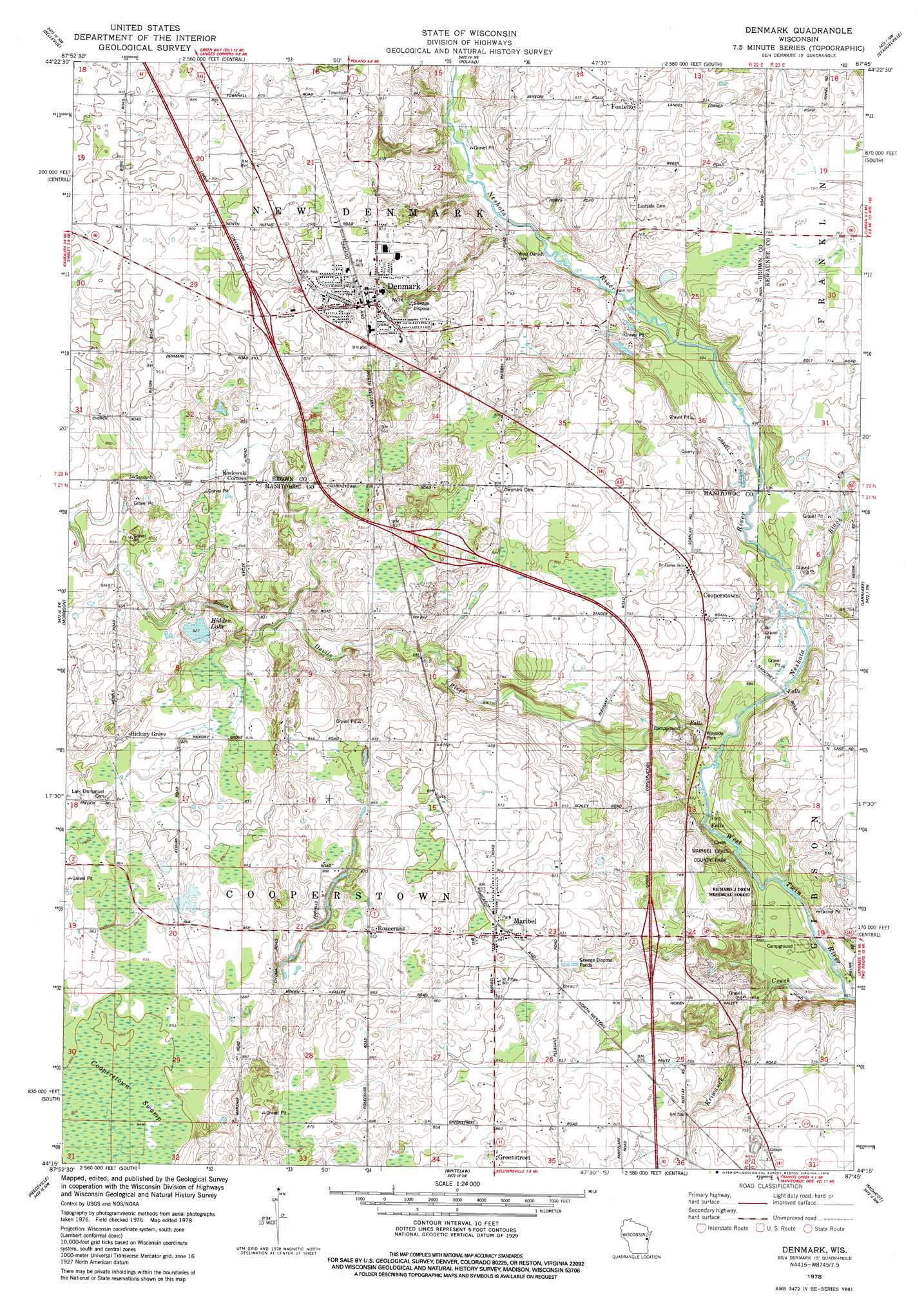Denmark Topographic Map.Denmark Topographic Map Wi Usgs Topo Quad 44087c7