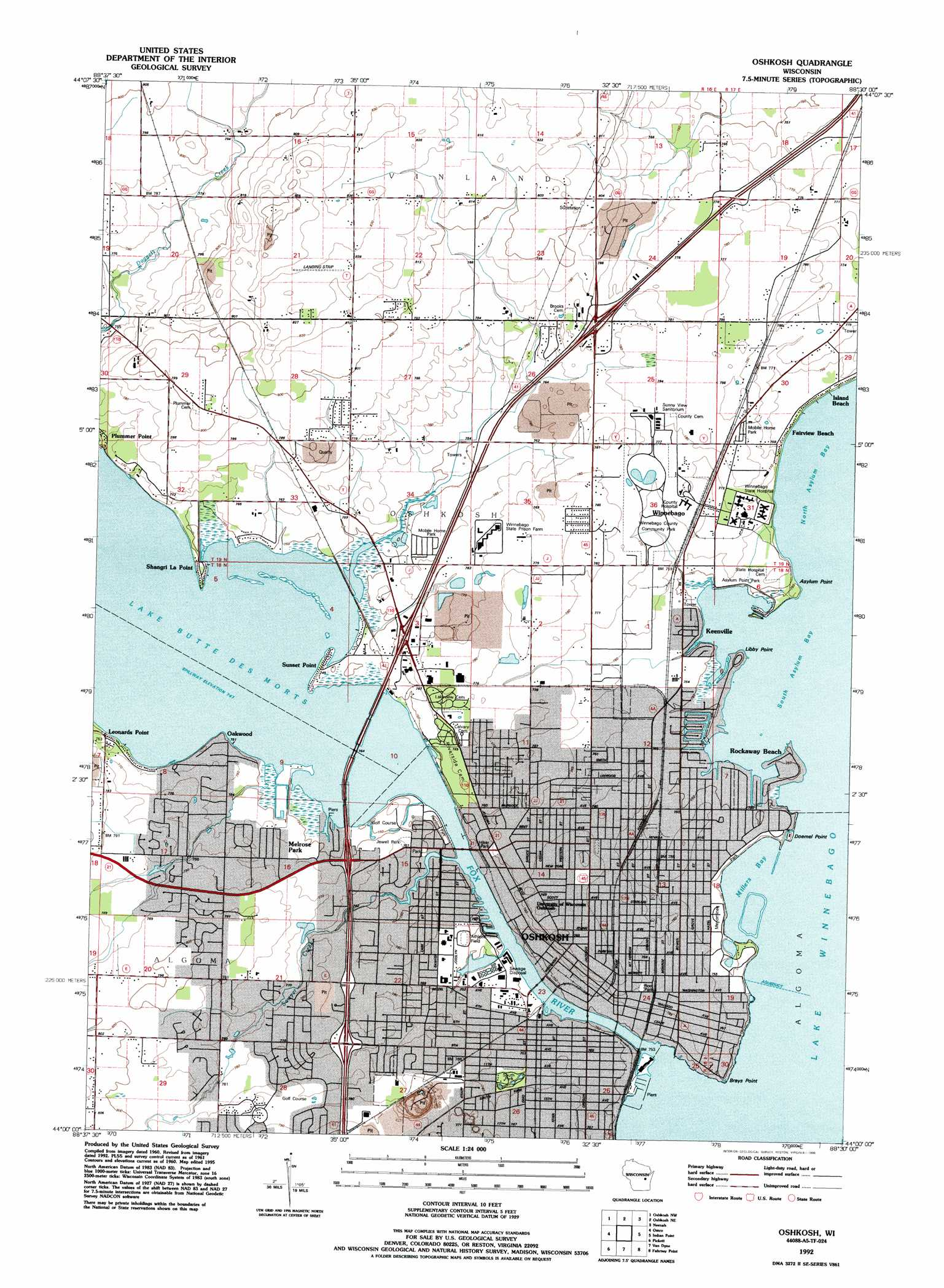 Oshkosh topographic map WI USGS Topo Quad 44088a5