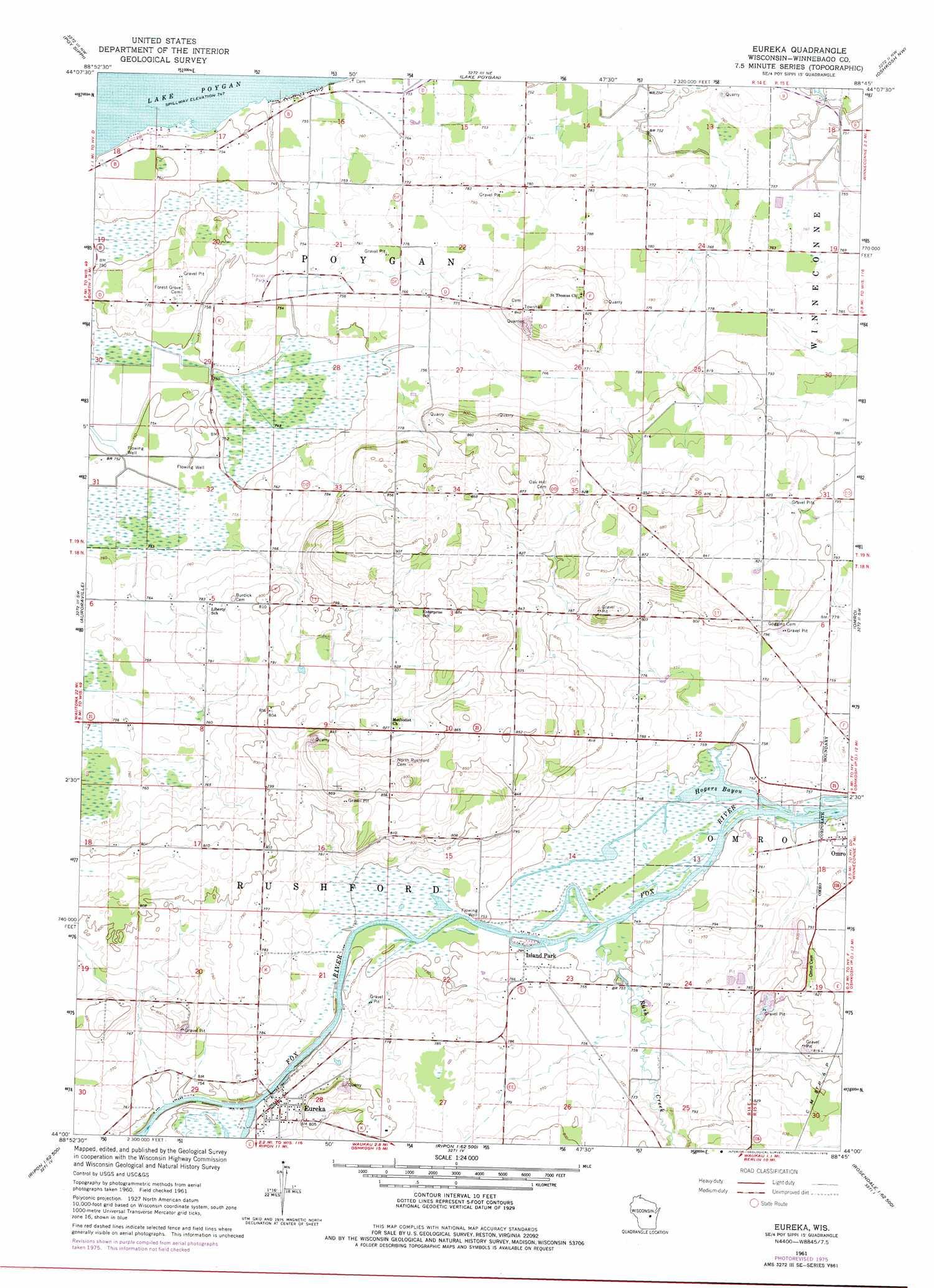 Eureka Topographic Map WI  USGS Topo Quad 44088a7