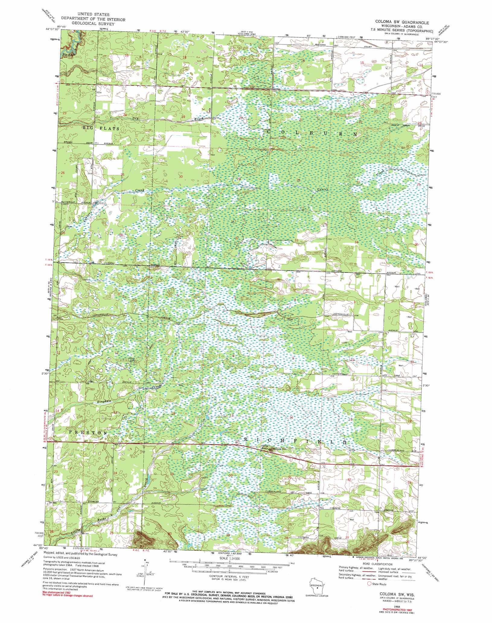 Coloma Wisconsin Map.Coloma Sw Topographic Map Wi Usgs Topo Quad 44089a6