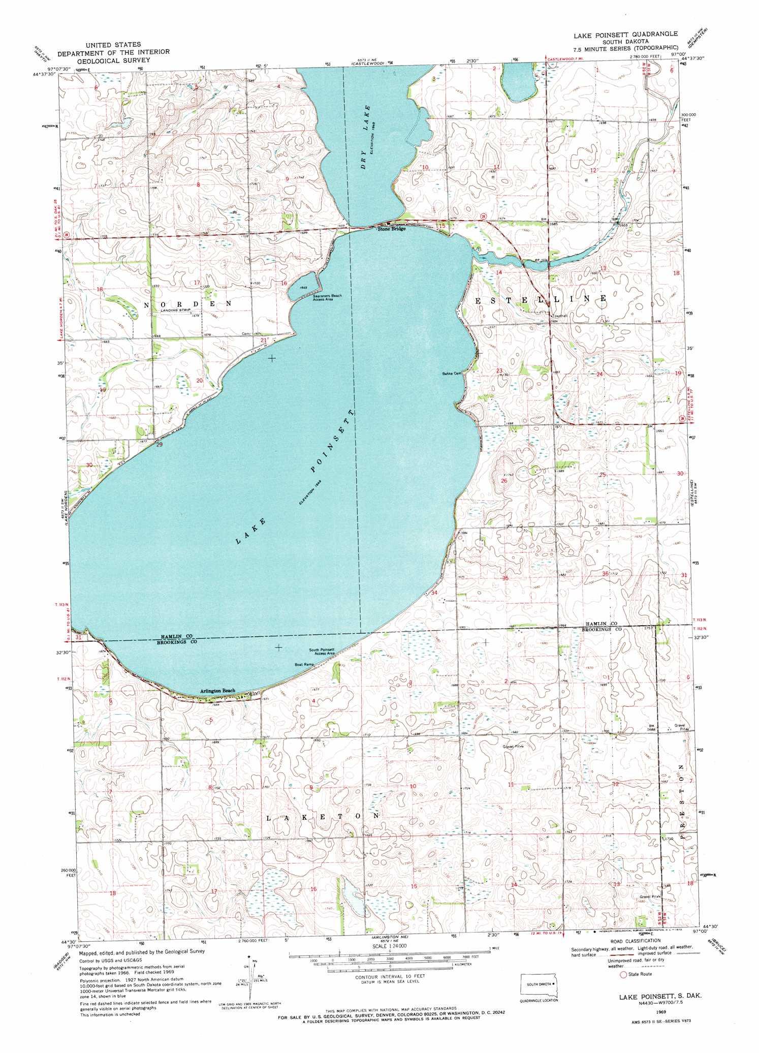 Lake Poinsett Topographic Map Sd Usgs Topo Quad 44097e1