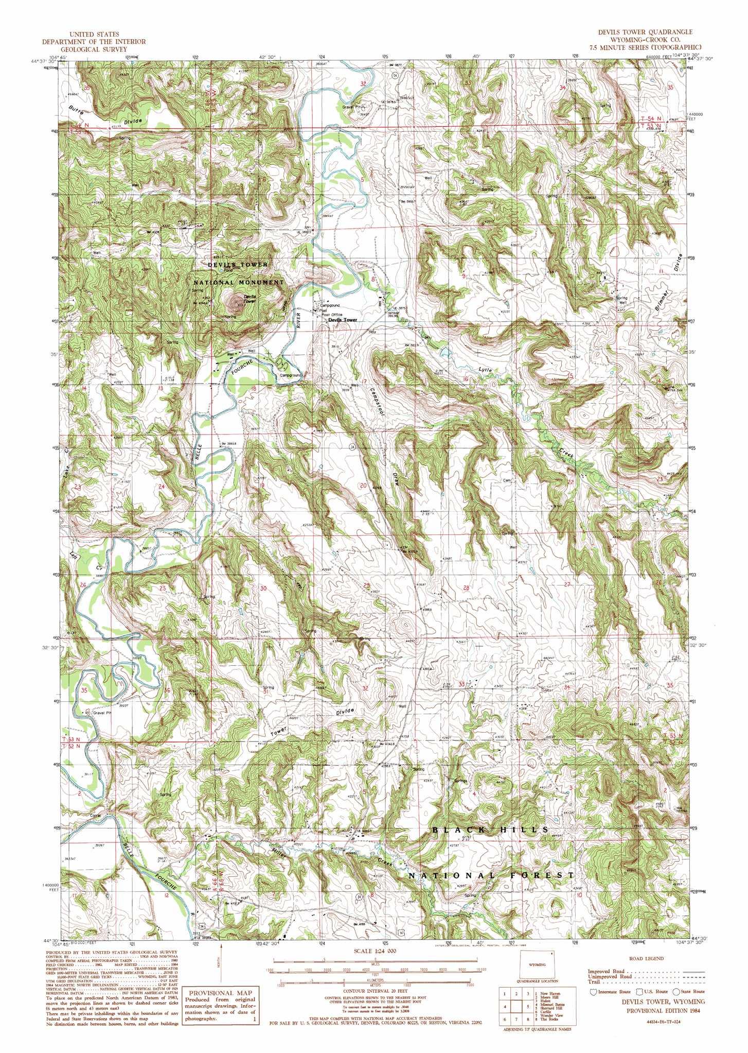 Devils tower topographic map wy usgs topo quad 44104e6 devils tower publicscrutiny Choice Image