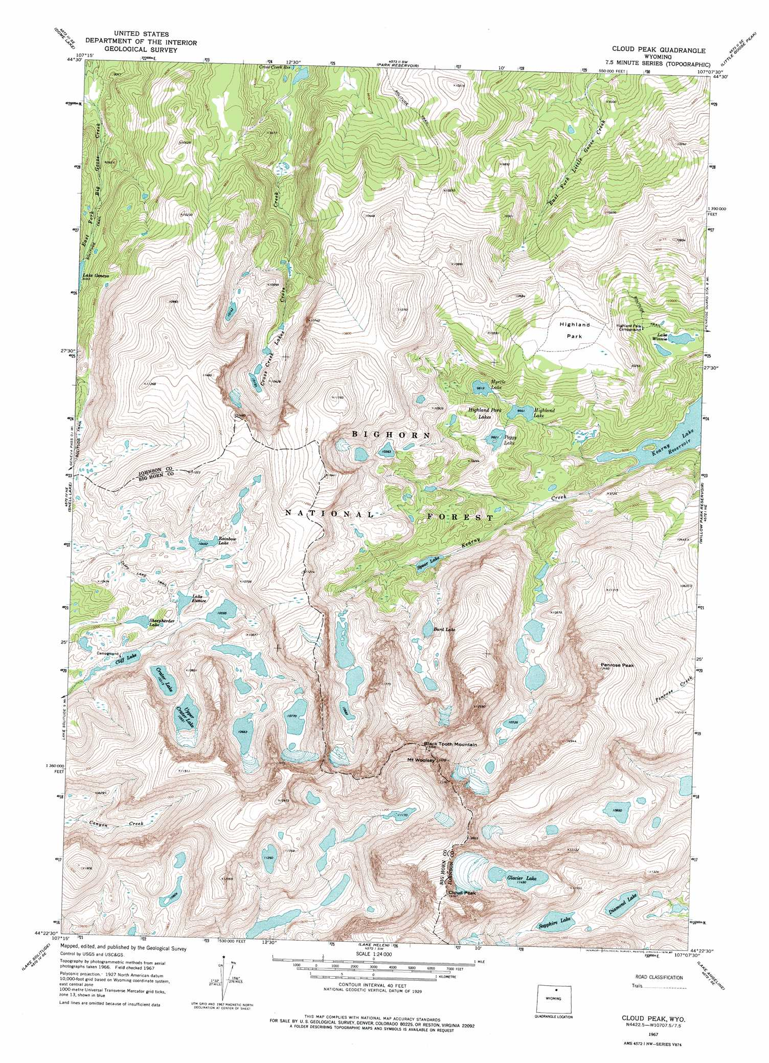 Cloud Peak Topographic Map WY  USGS Topo Quad 44107d2