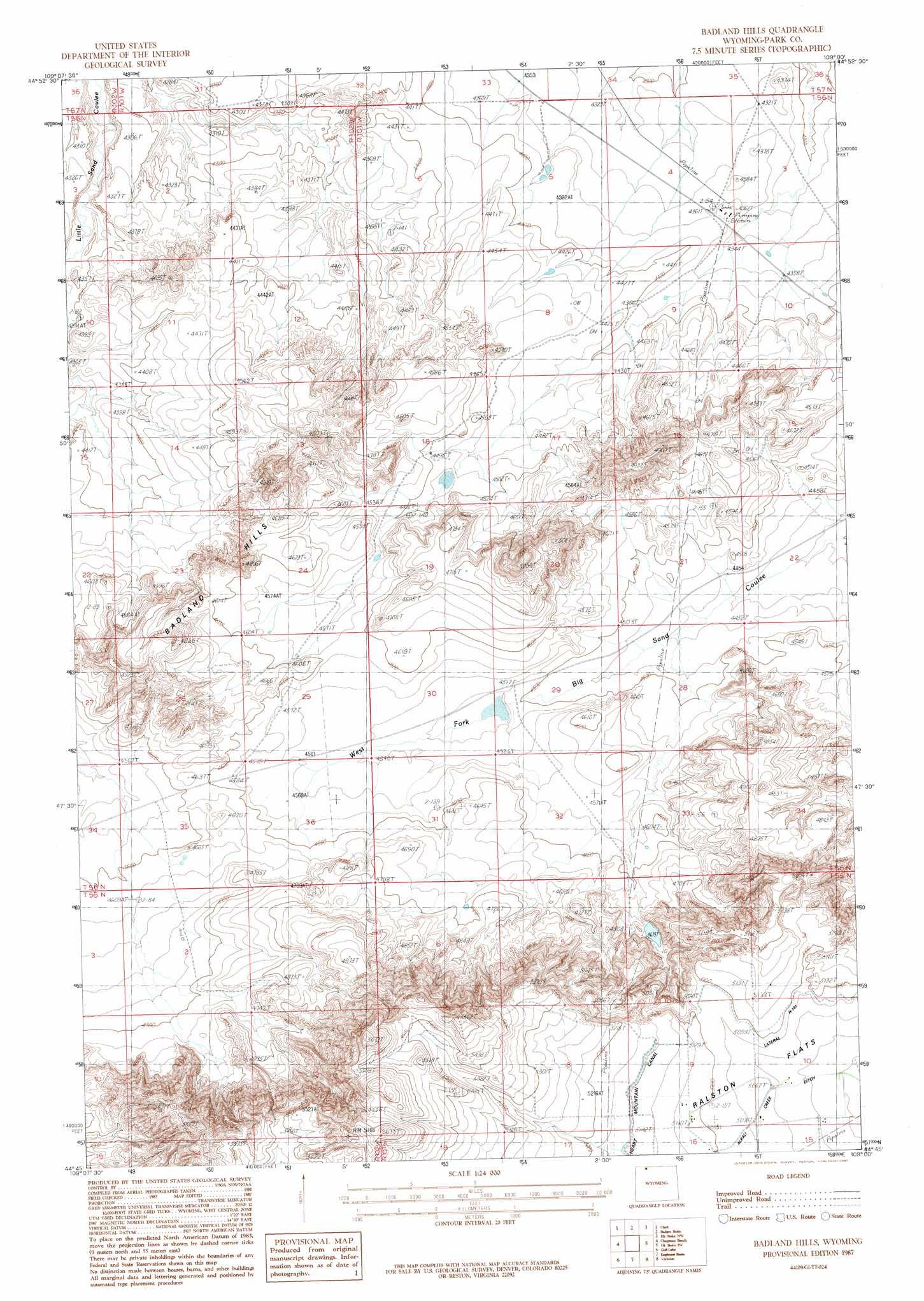 Badlands Wyoming Map.Badlands Hills Topographic Map Wy Usgs Topo Quad 44109g1