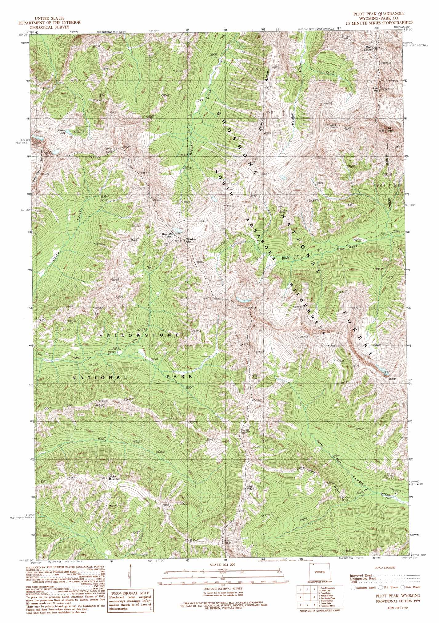 Pilot Peak Topographic Map WY  USGS Topo Quad 44109h8