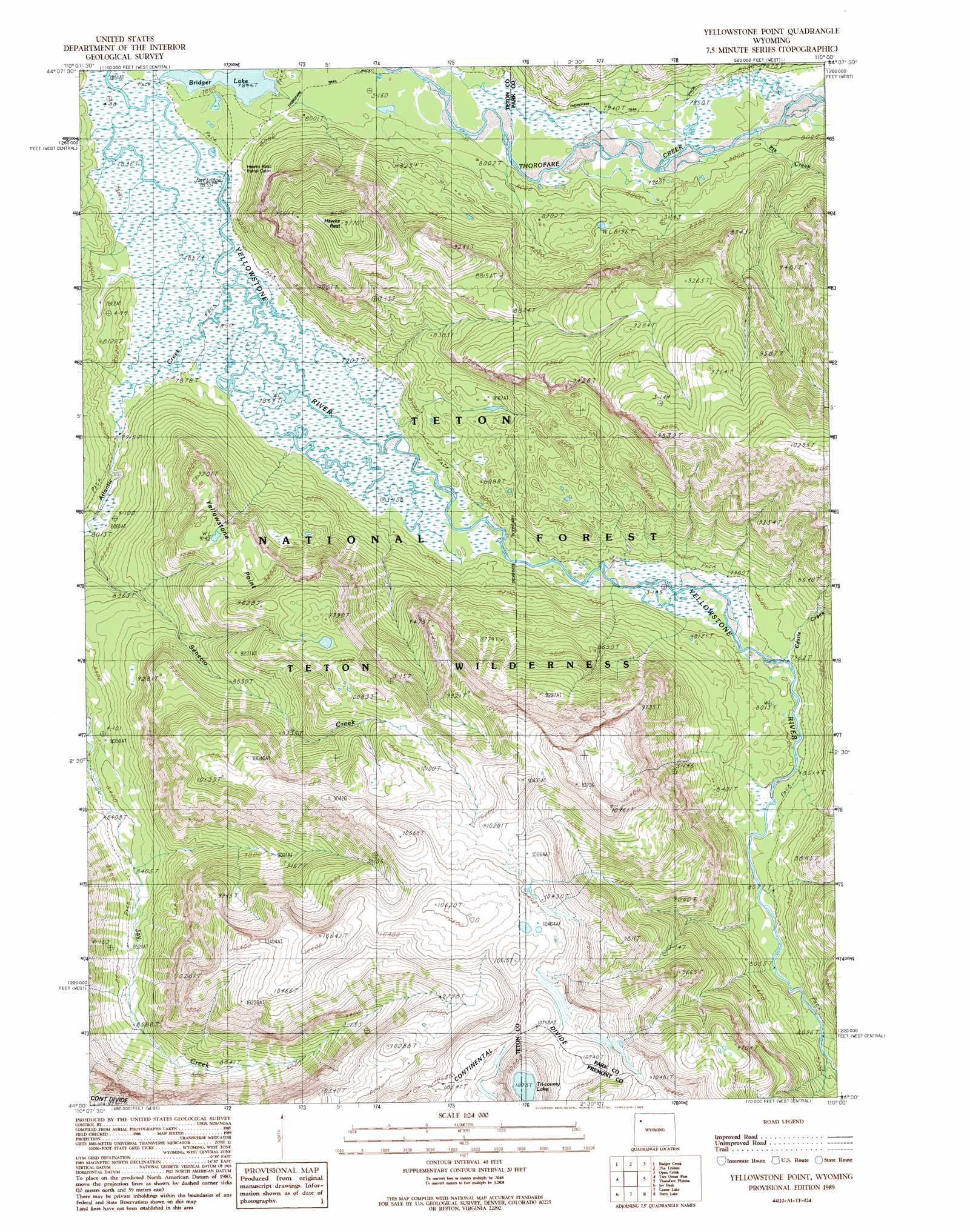 Yellowstone Point Topographic Map WY  USGS Topo Quad 44110a1