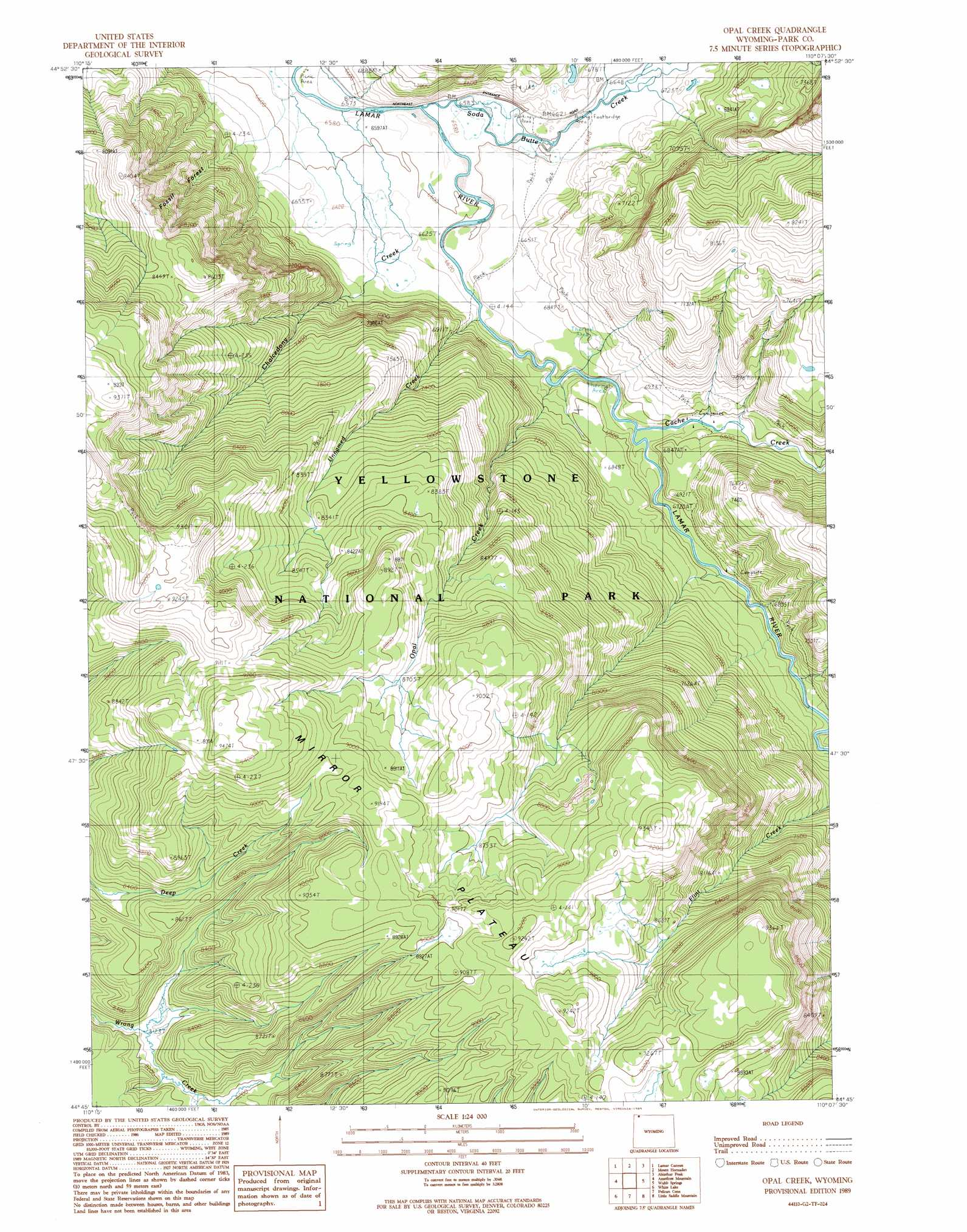 Opal Creek Topographic Map WY  USGS Topo Quad 44110g2