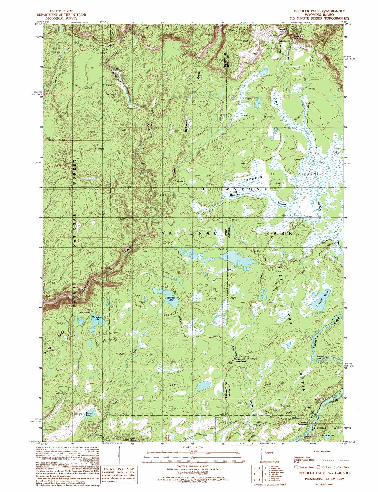Bechler Falls topographic map, ID, WY - USGS Topo Quad 44111b1