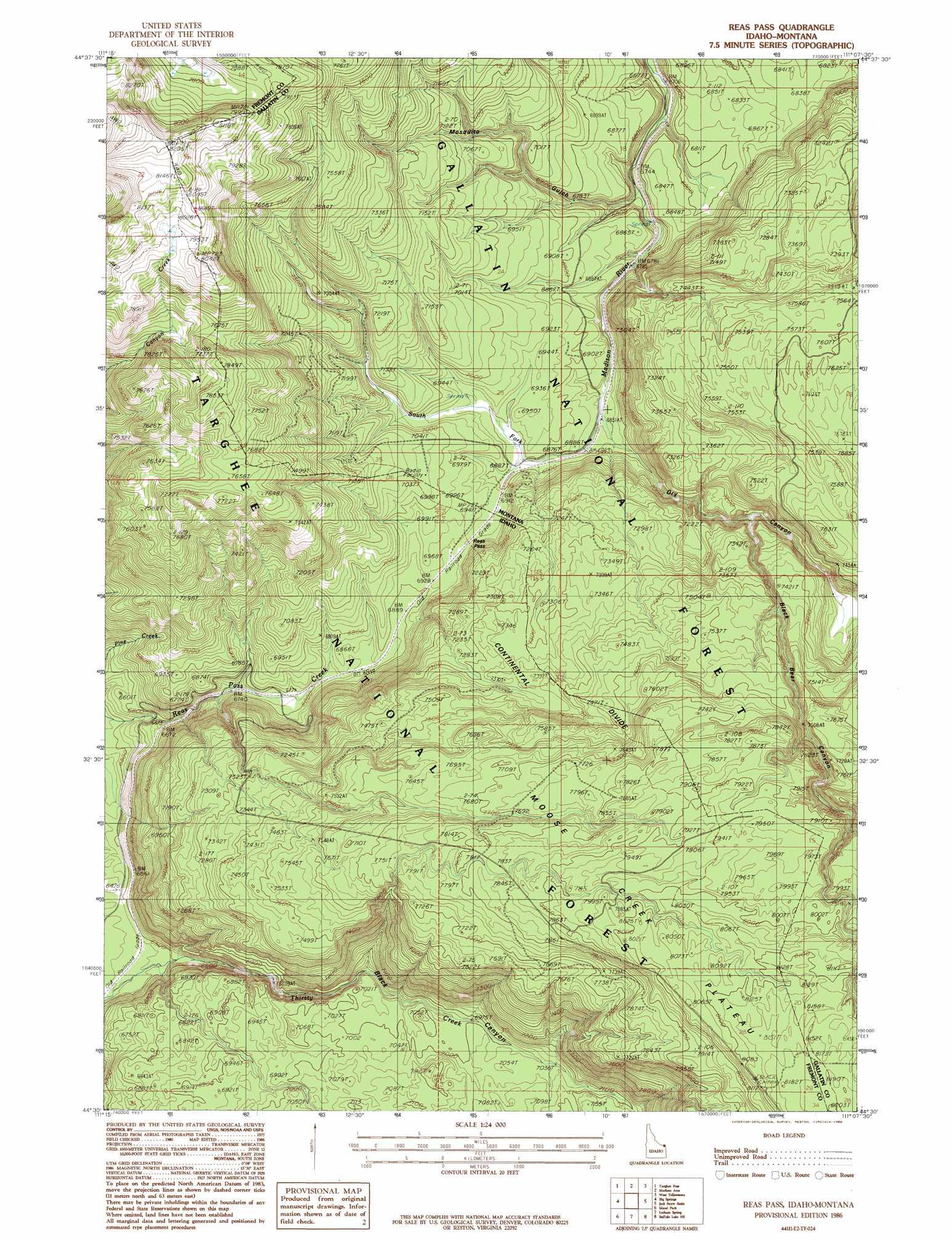Reas Pass topographic map, ID, MT - USGS Topo Quad 44111e2