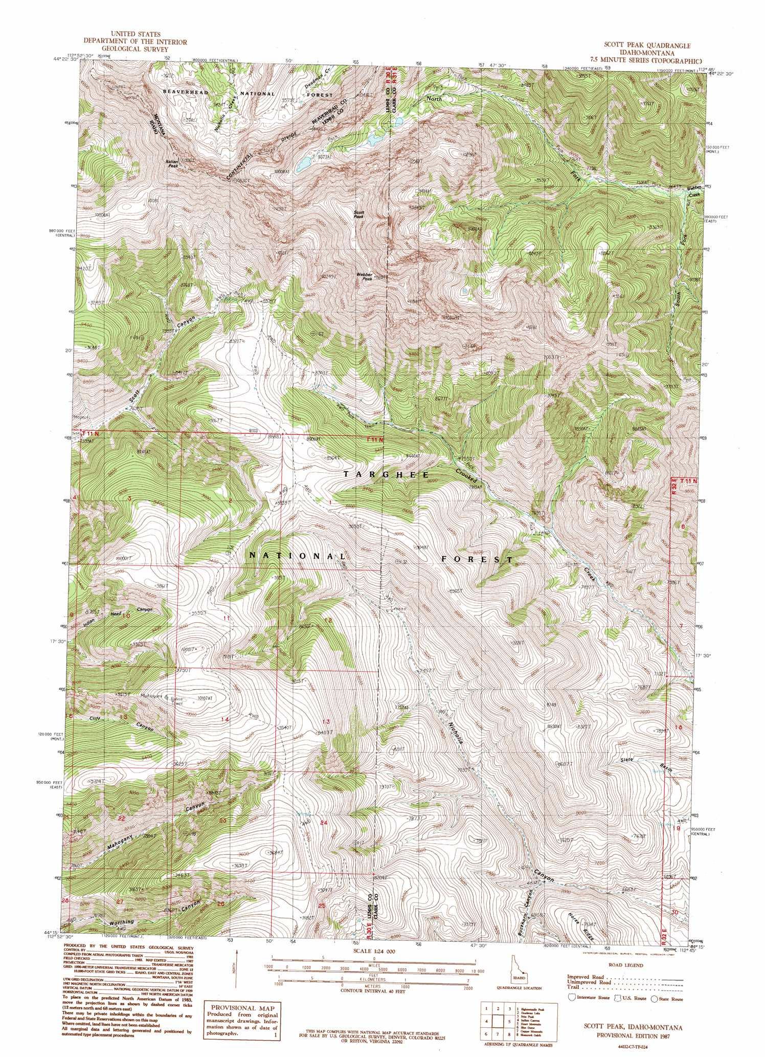 4bd4fb009ccf Scott Peak topographic map, ID, MT - USGS Topo Quad 44112c7