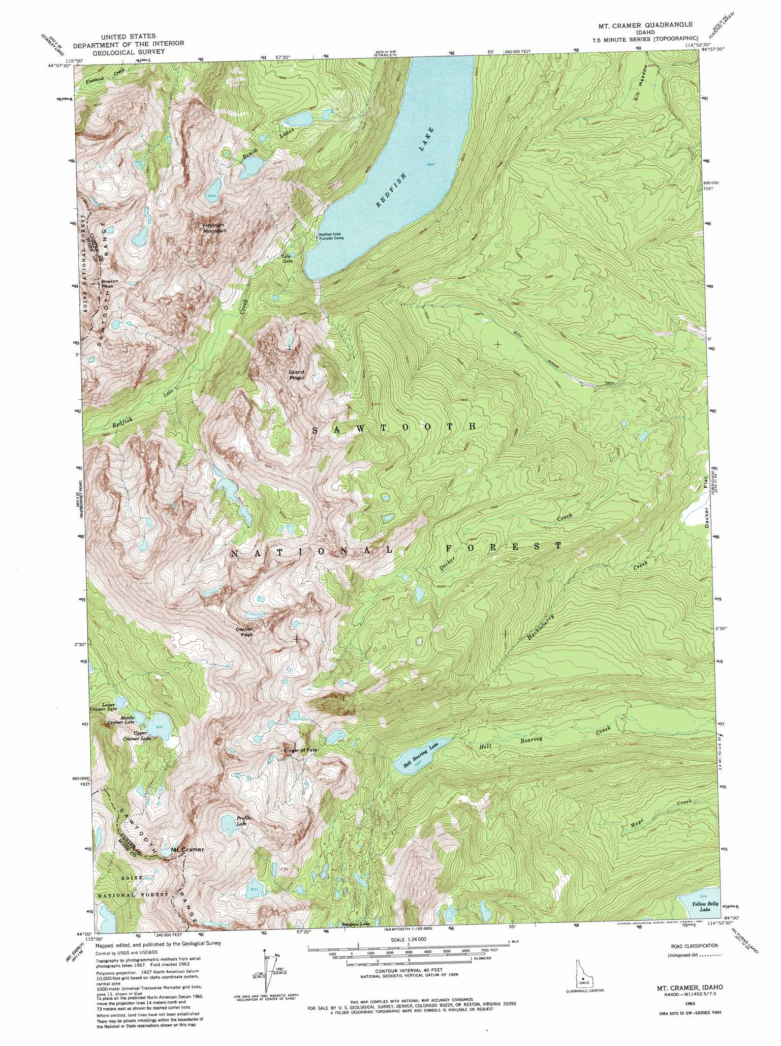 Mount Cramer topographic map, ID - USGS Topo Quad 44114a8
