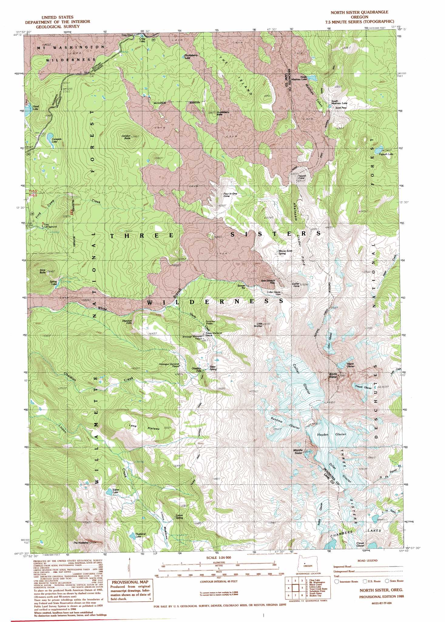 North Sister Topographic Map Or Usgs Topo Quad 44121b7