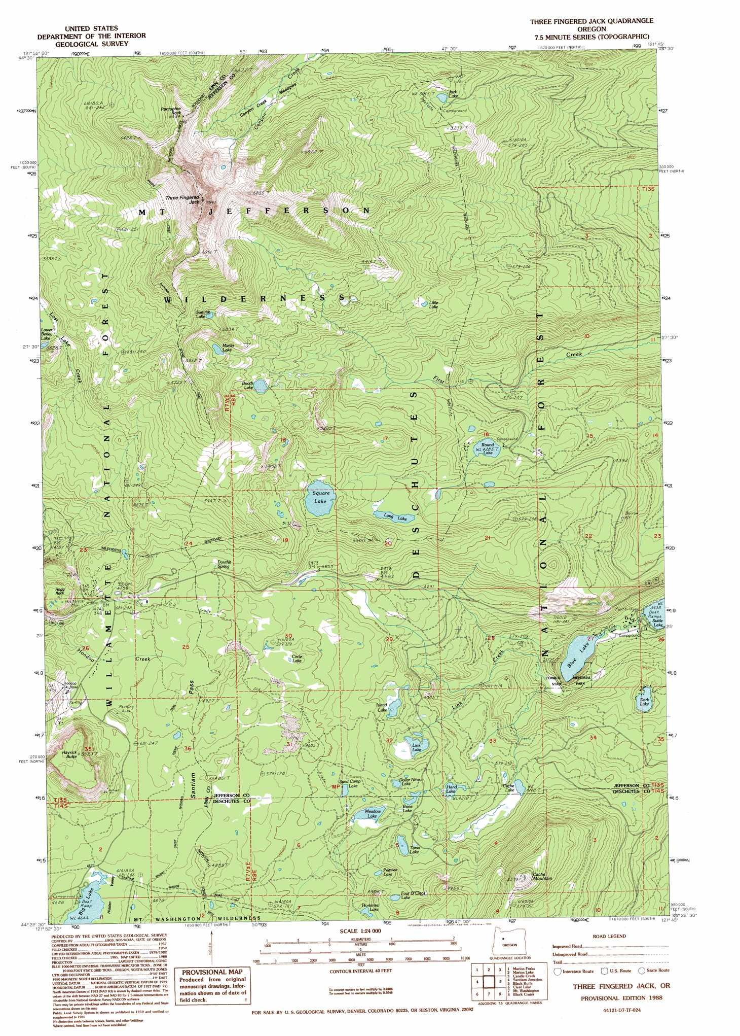 Three Fingered Jack Topographic Map OR USGS Topo Quad D - Where to buy us topo maps