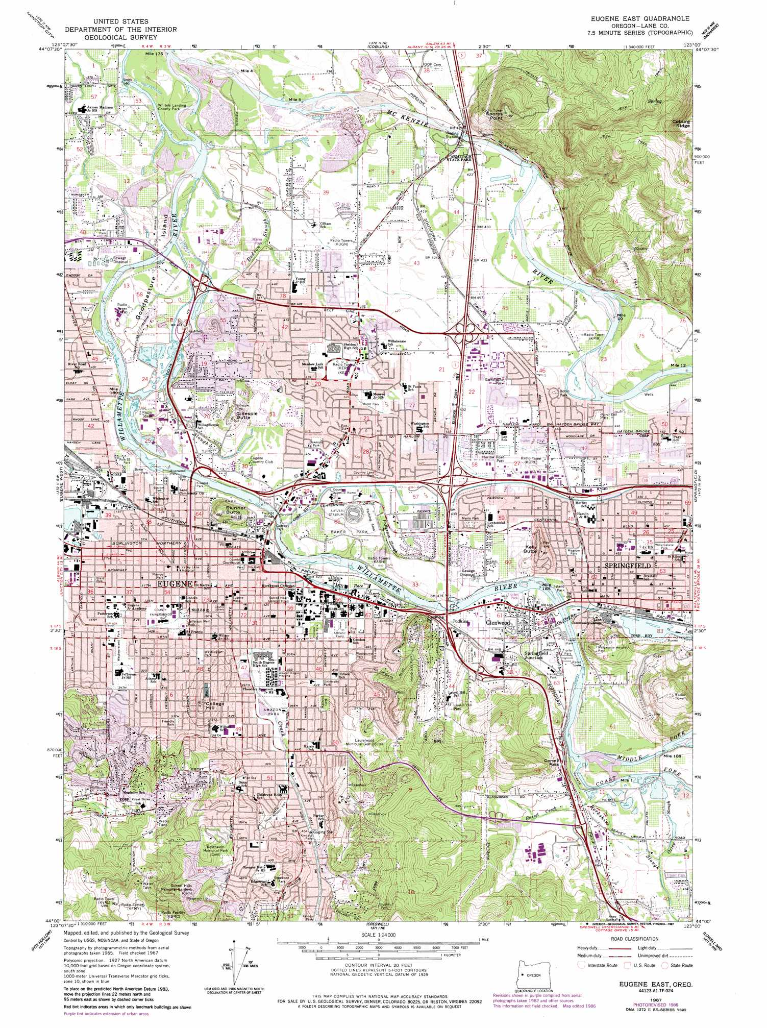 Eugene East Topographic Map OR USGS Topo Quad A - Topographical map of oregon