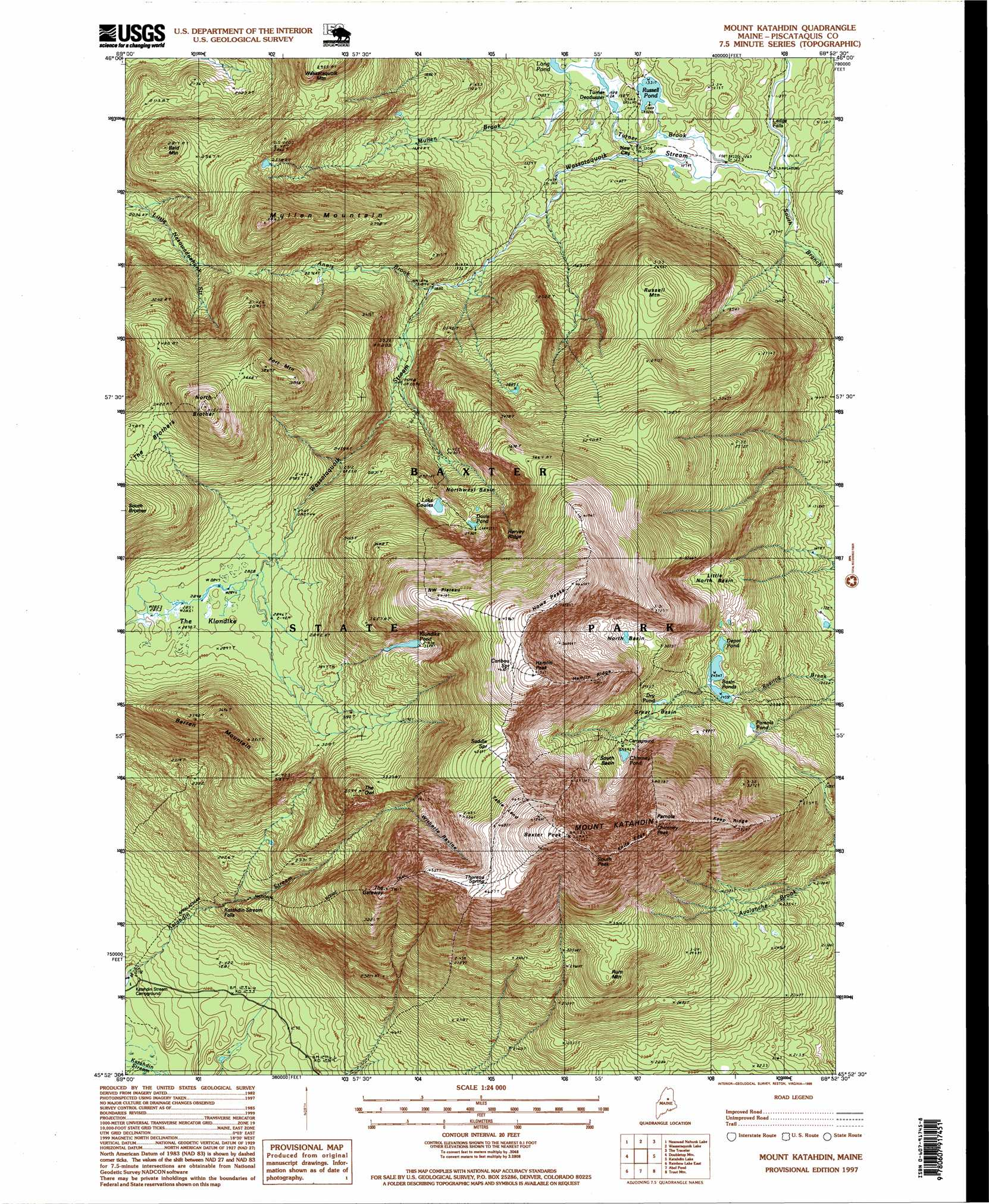 Mount Katahdin Topographic Map ME USGS Topo Quad H - Topographical map of maine