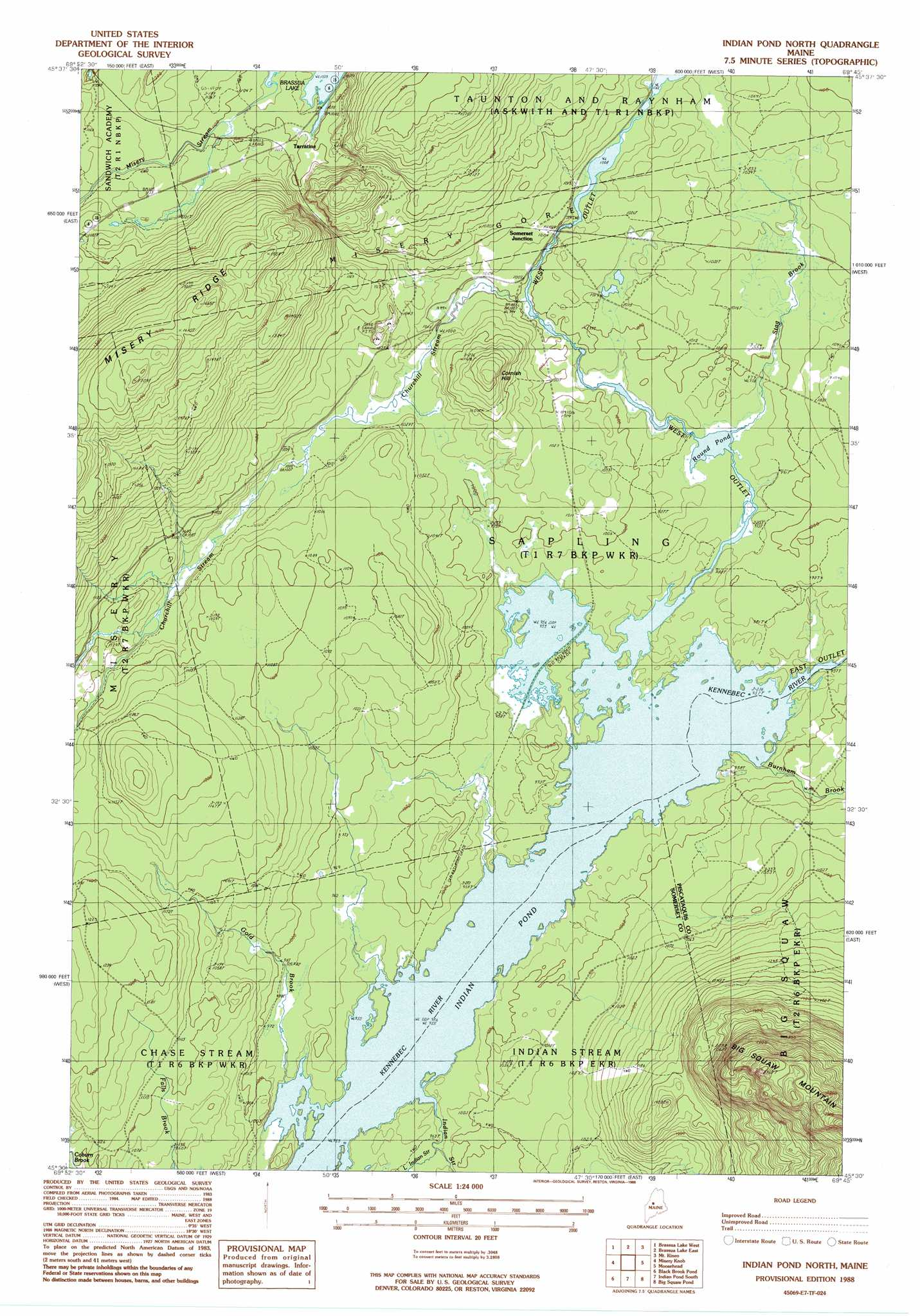 Indian Pond North Topographic Map Me Usgs Topo Quad 45069e7