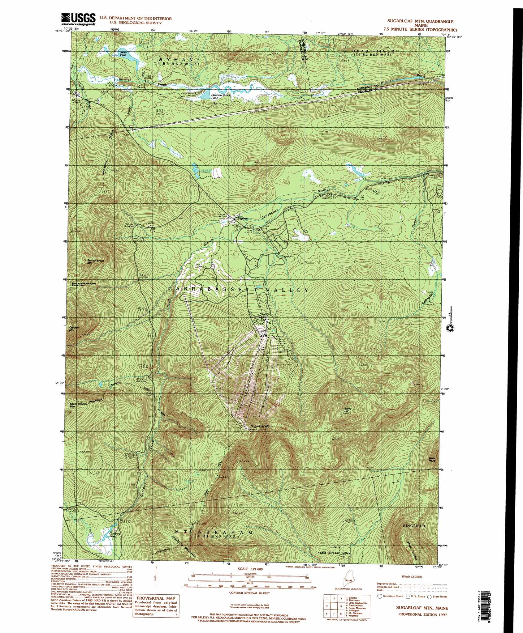 Sugarloaf Mountain Topographic Map ME USGS Topo Quad A - Topographical map of maine
