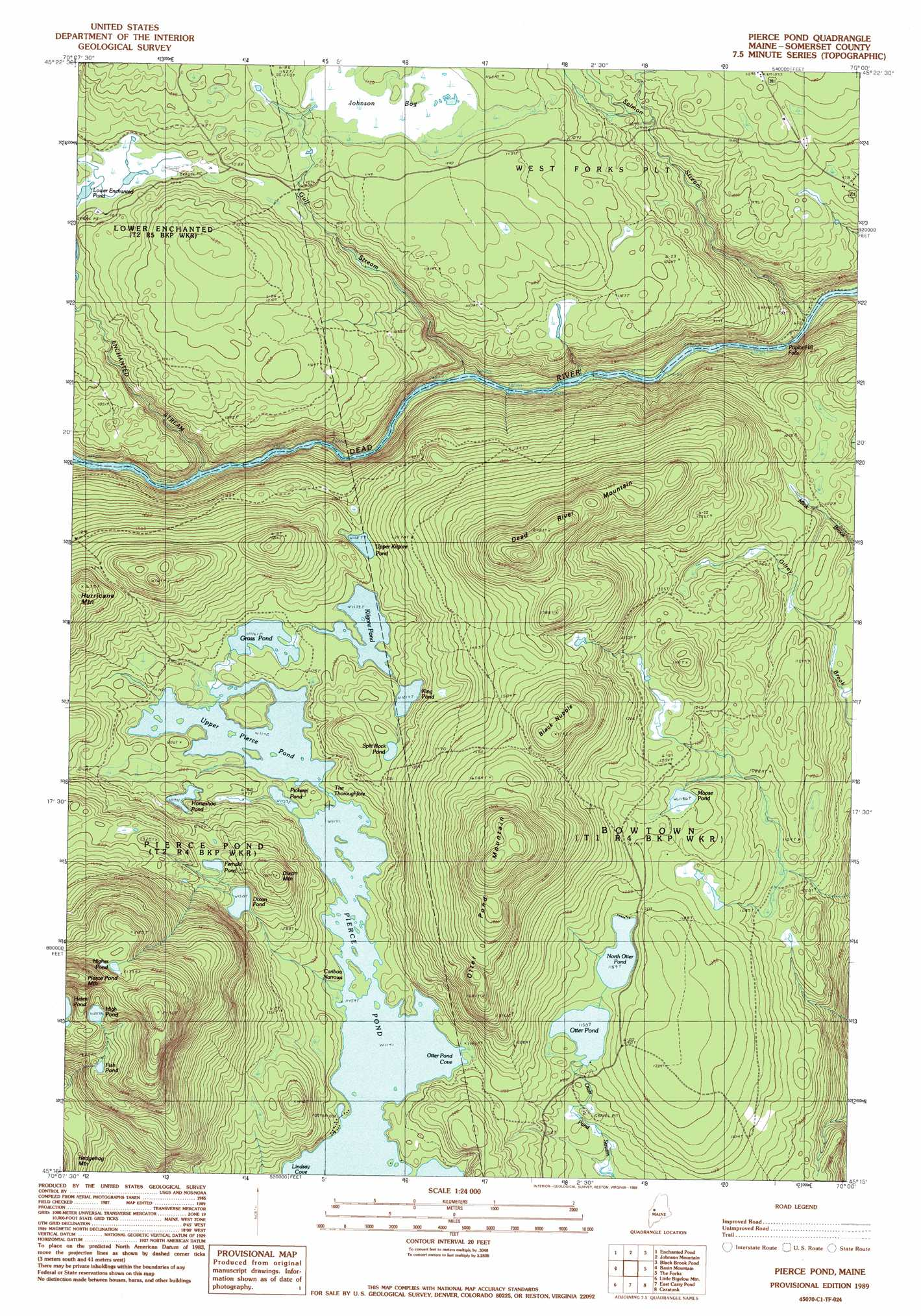 Pierce Pond Topographic Map Me Usgs Topo Quad 45070c1
