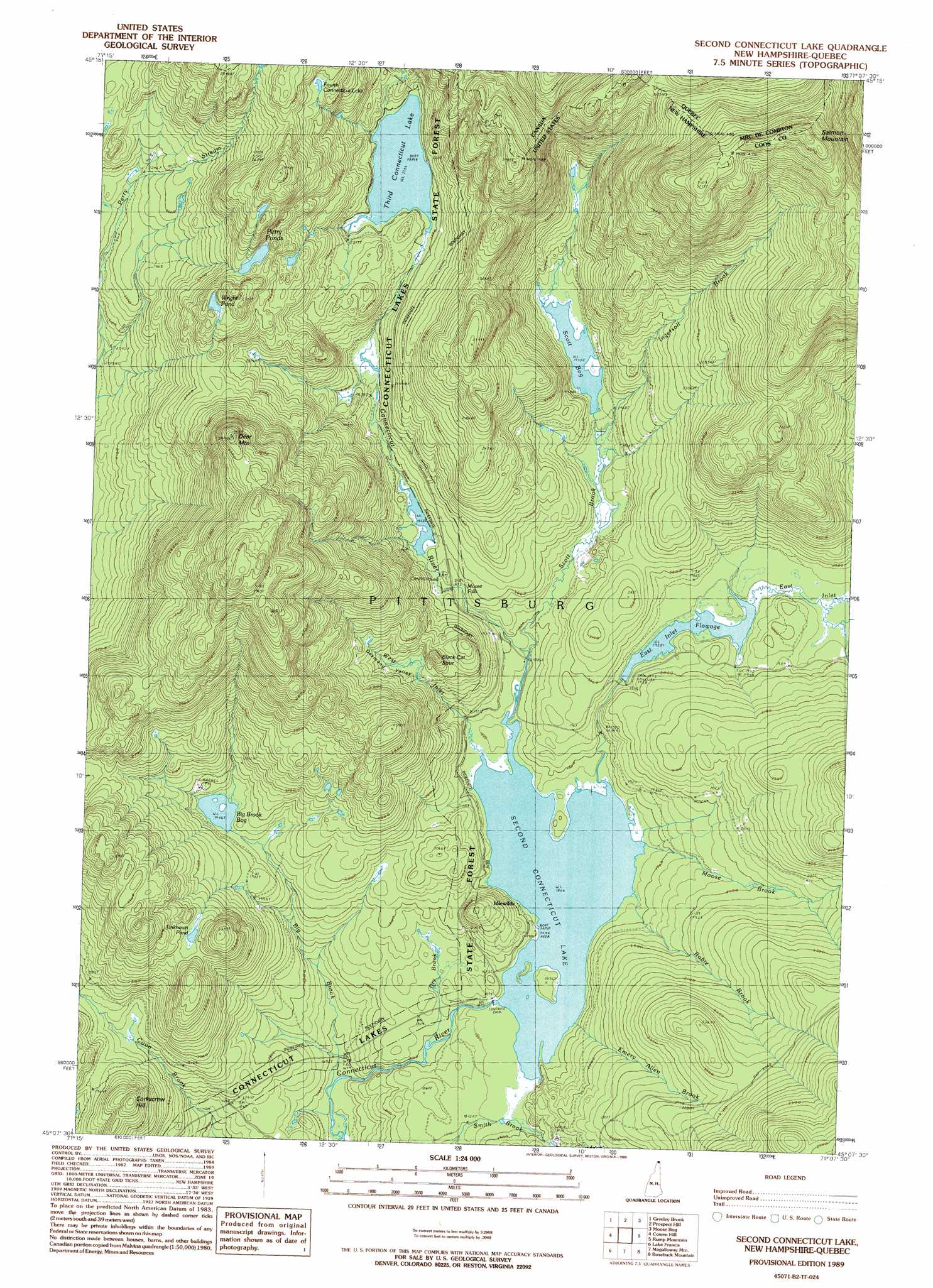 Second Connecticut Lake Topographic Map Nh Usgs Topo