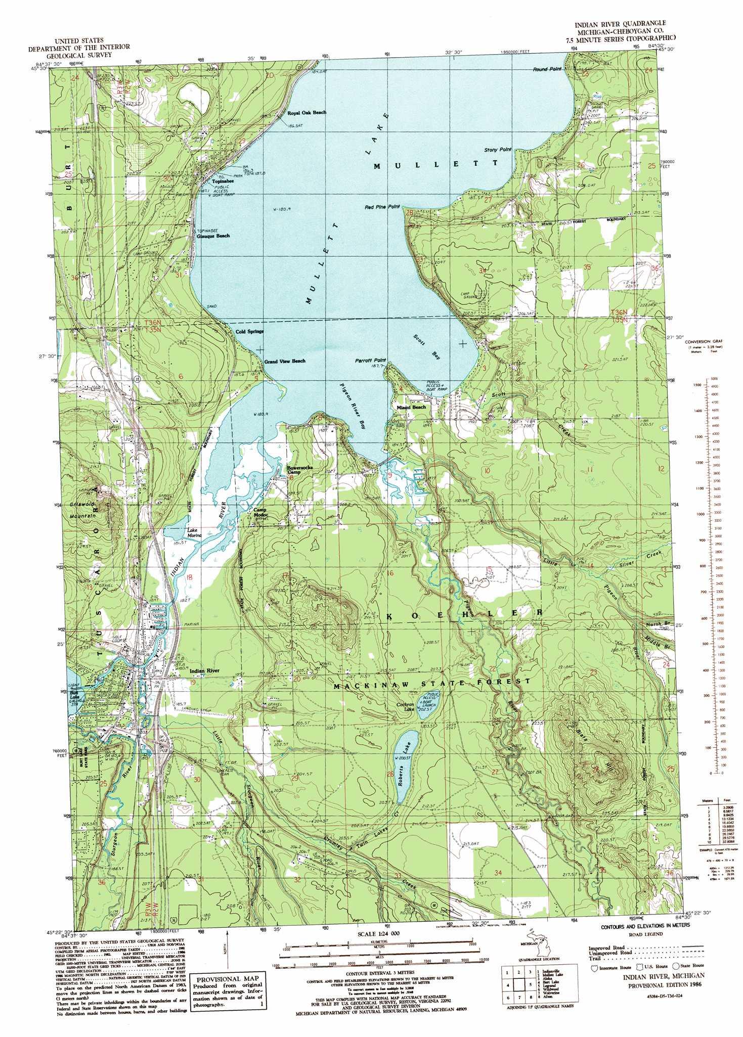 Indian River Topographic Map Mi Usgs Topo Quad 45084d5