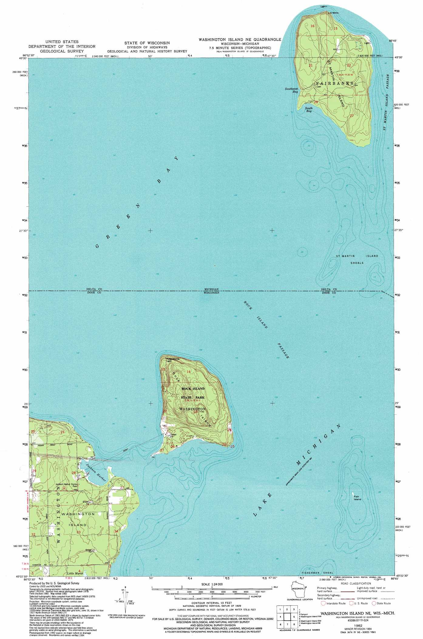 Washington Island Nw Topographic Map WI MI  USGS Topo