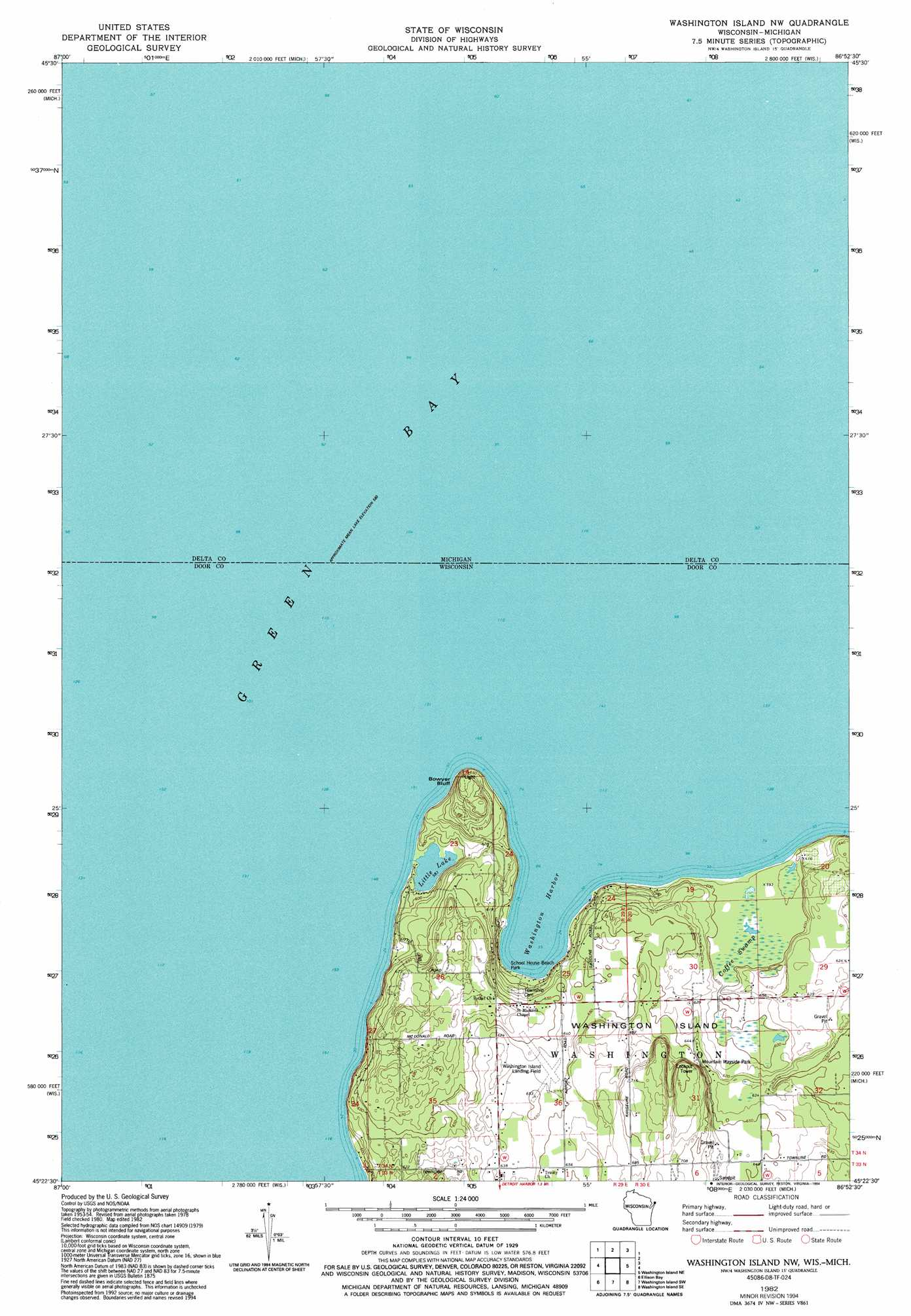 Washington Island Nw topographic map, WI, MI - USGS Topo