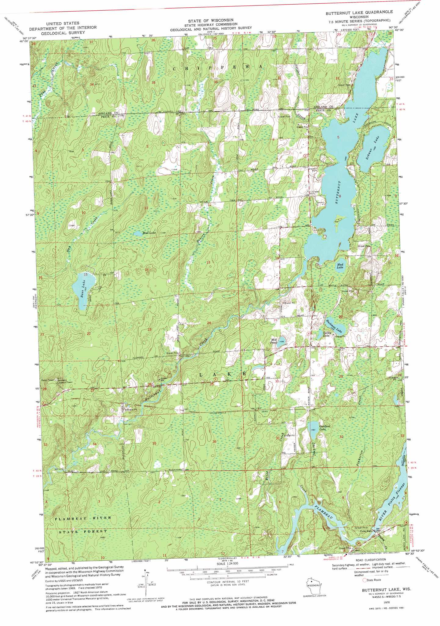 Butternut Lake topographic map, WI   USGS Topo Quad 45090h5