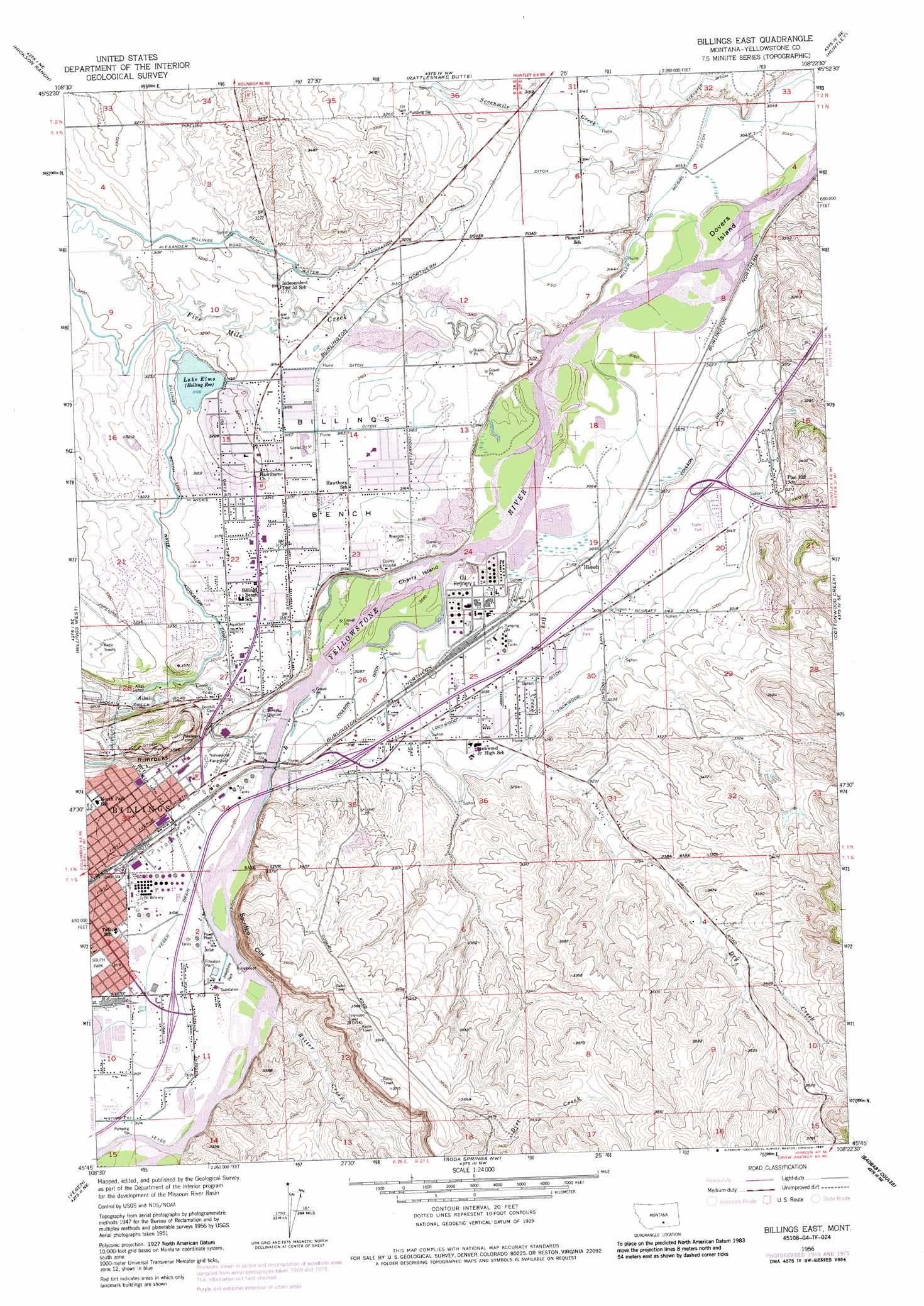 Billings East topographic map MT USGS Topo Quad 45108g4
