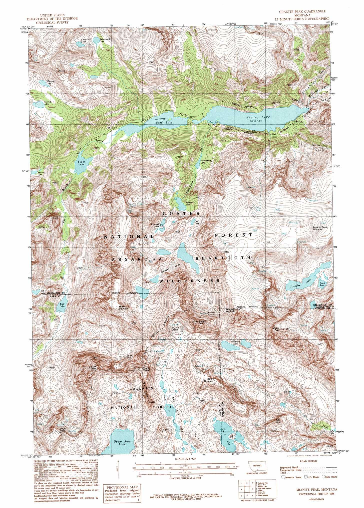 Granite Peak Topographic Map MT USGS Topo Quad B - Montana topo map