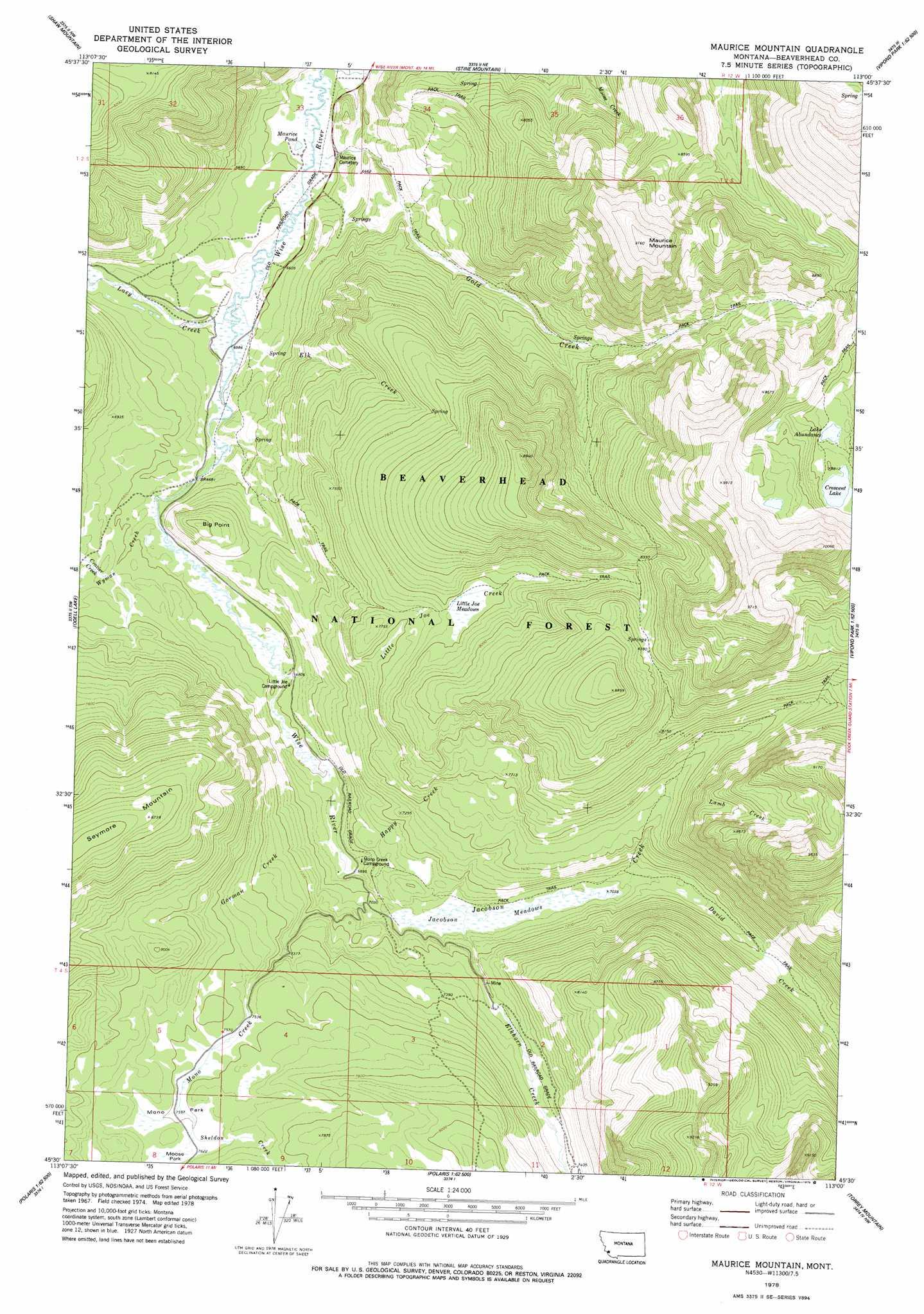 Maurice Mountain topographic map, MT - USGS Topo Quad 45113e1