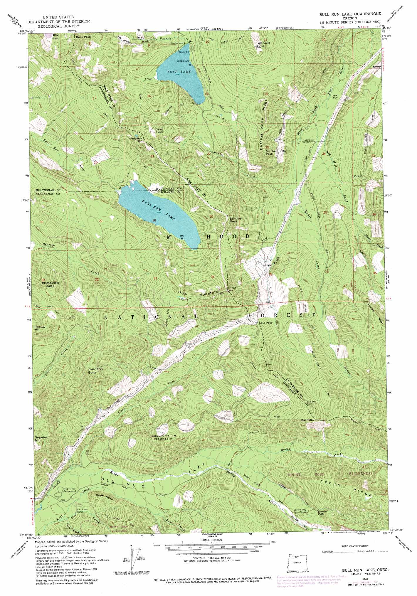 Bull Run Lake Topographic Map Or Usgs Topo Quad 45121d7