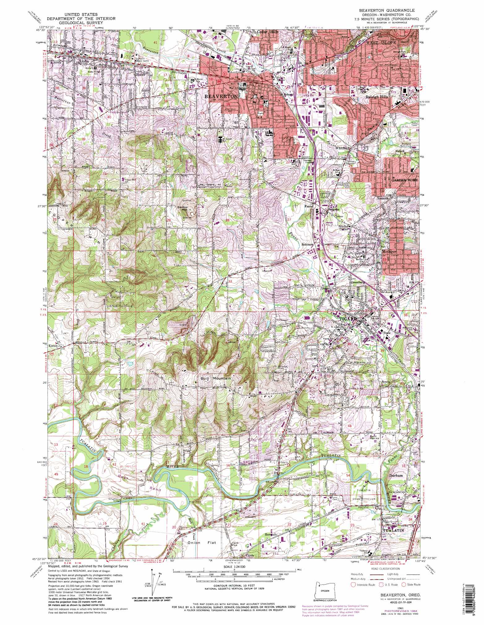 Beaverton topographic map OR USGS Topo Quad 45122d7