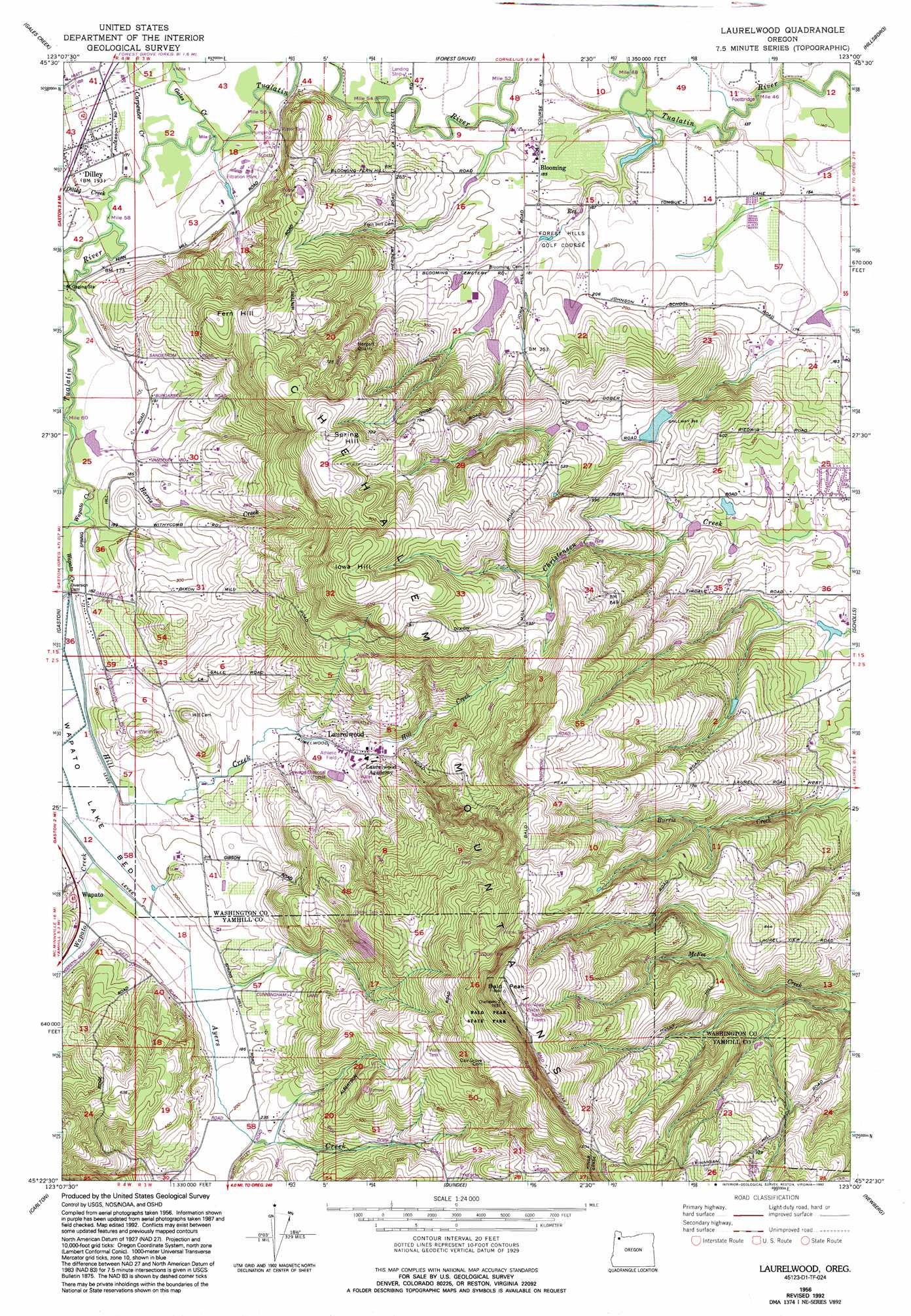 Laurelwood topographic map or usgs topo quad 45123d1 for Laurelwood