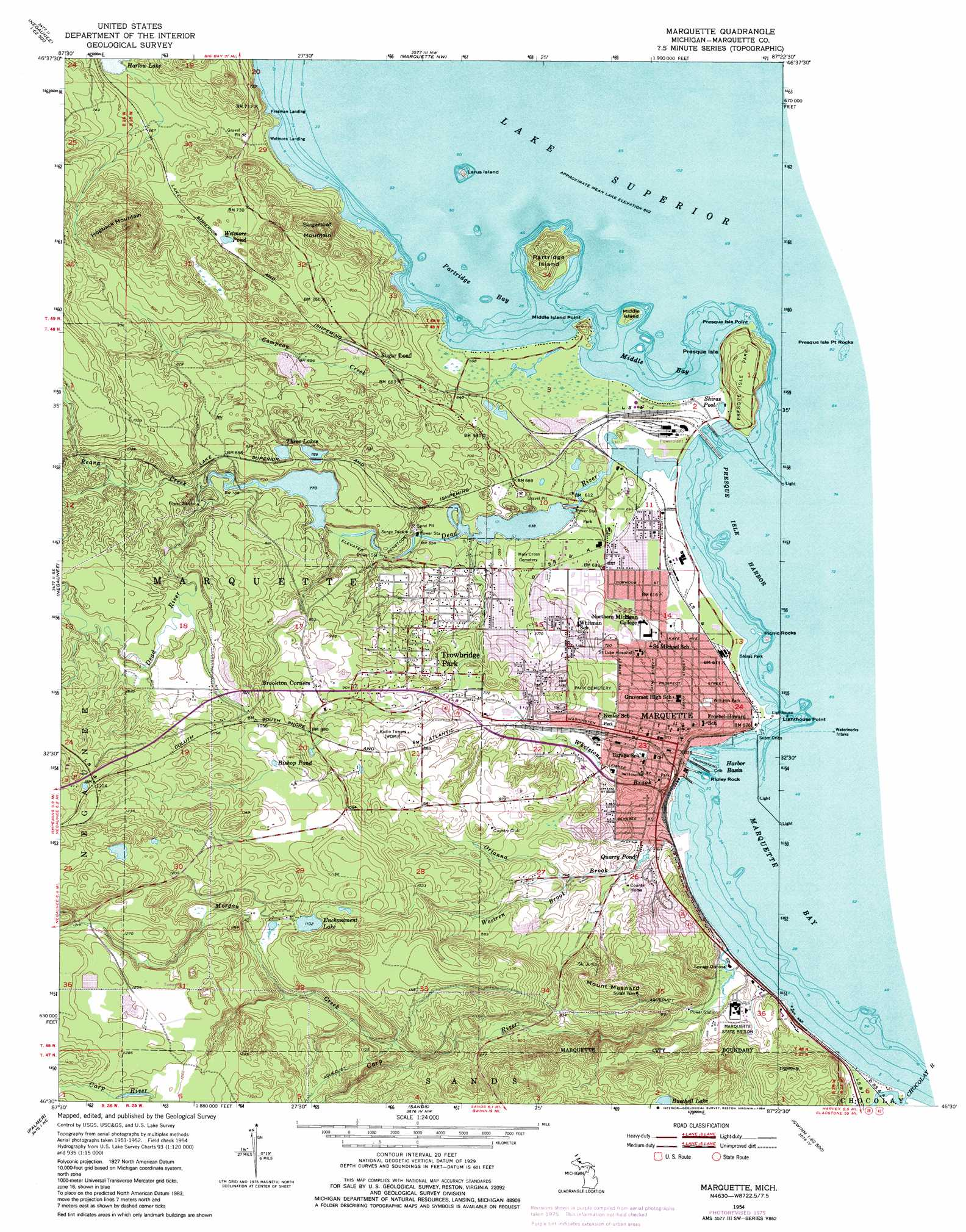 Marquette Topographic Map MI USGS Topo Quad E - Eastern us topographic map