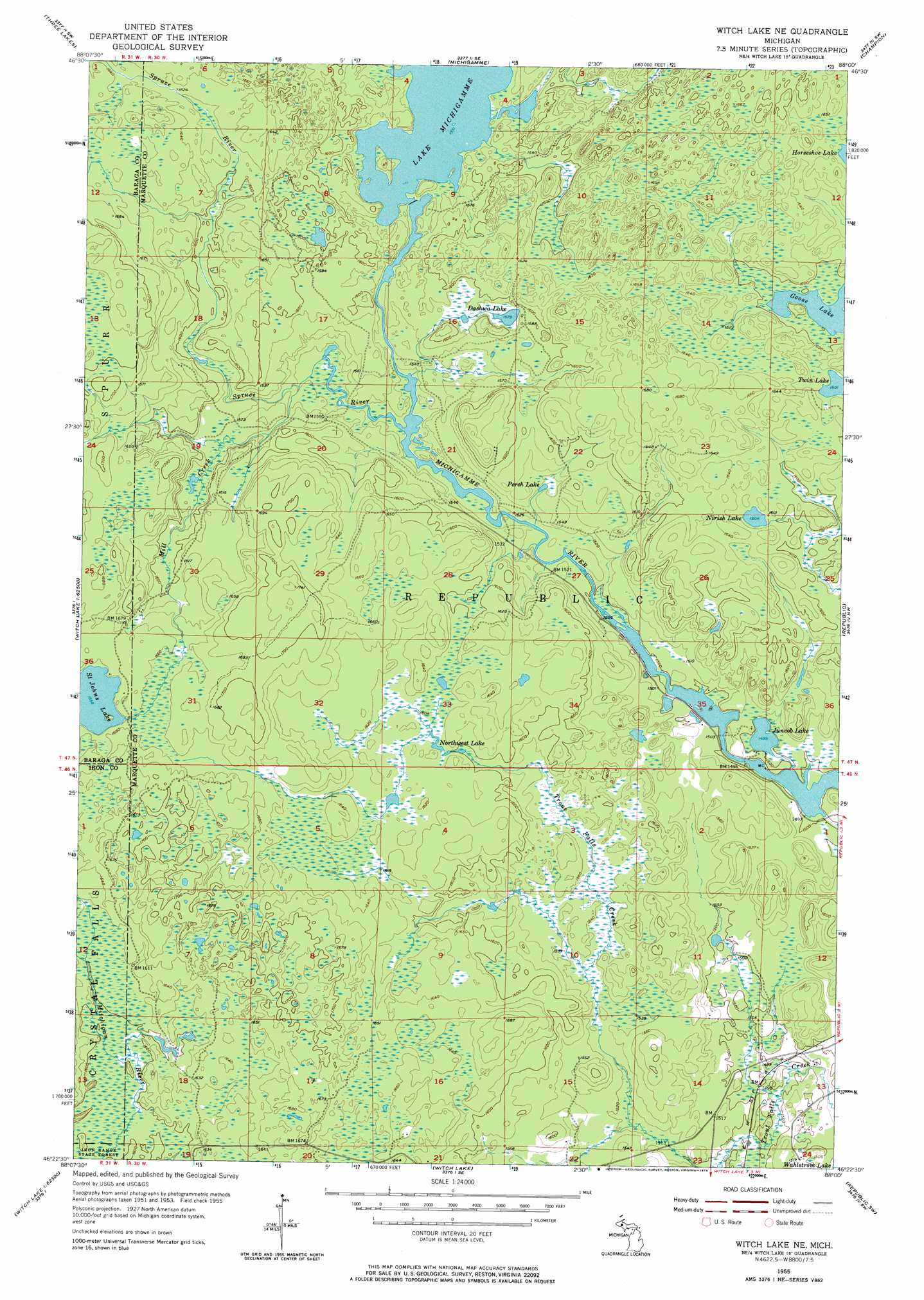 Witch Lake Ne Topographic Map MI  USGS Topo Quad 46088d1