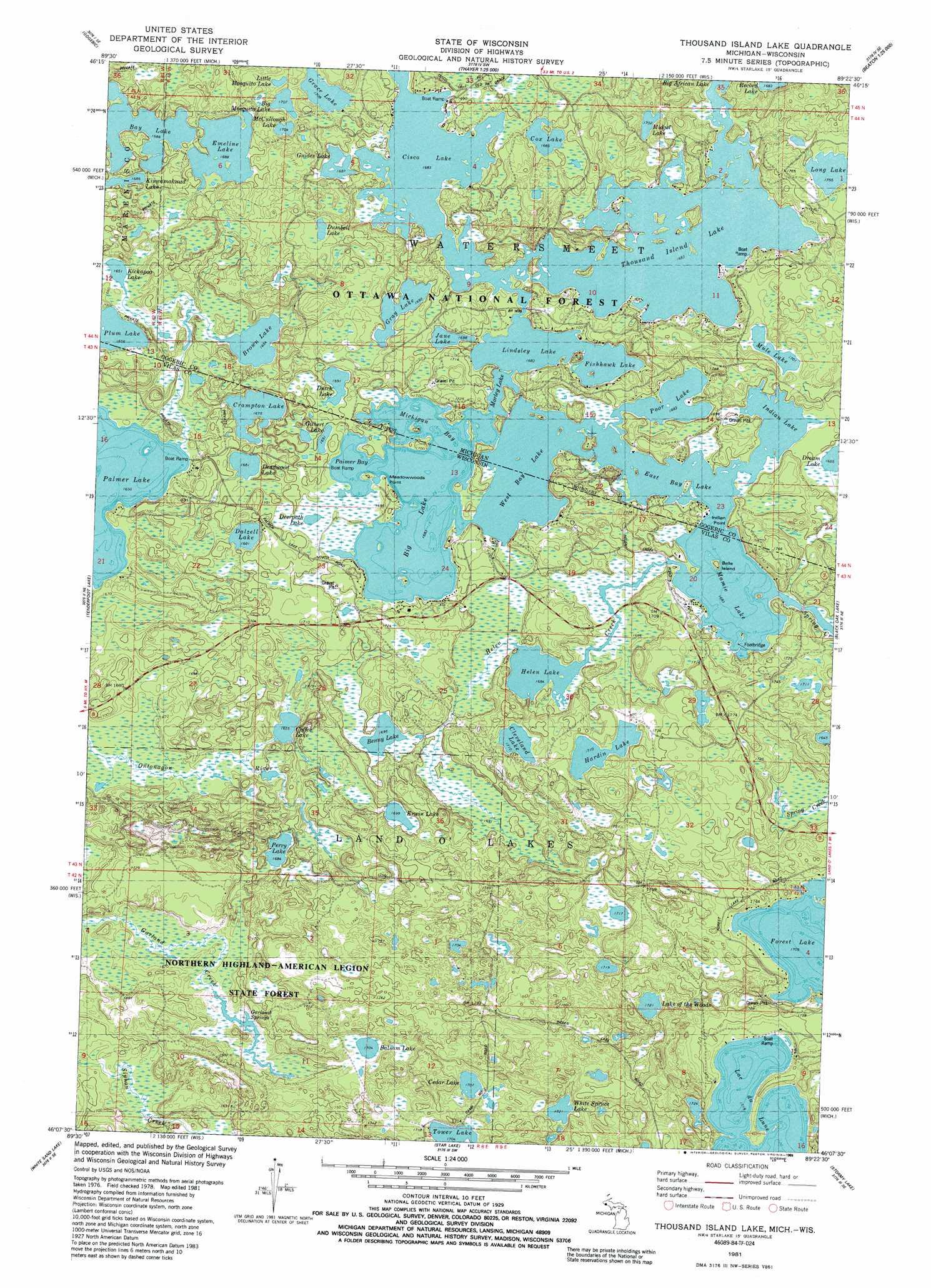 Thousand Island Lake topographic map WI MI USGS Topo Quad 46089b4