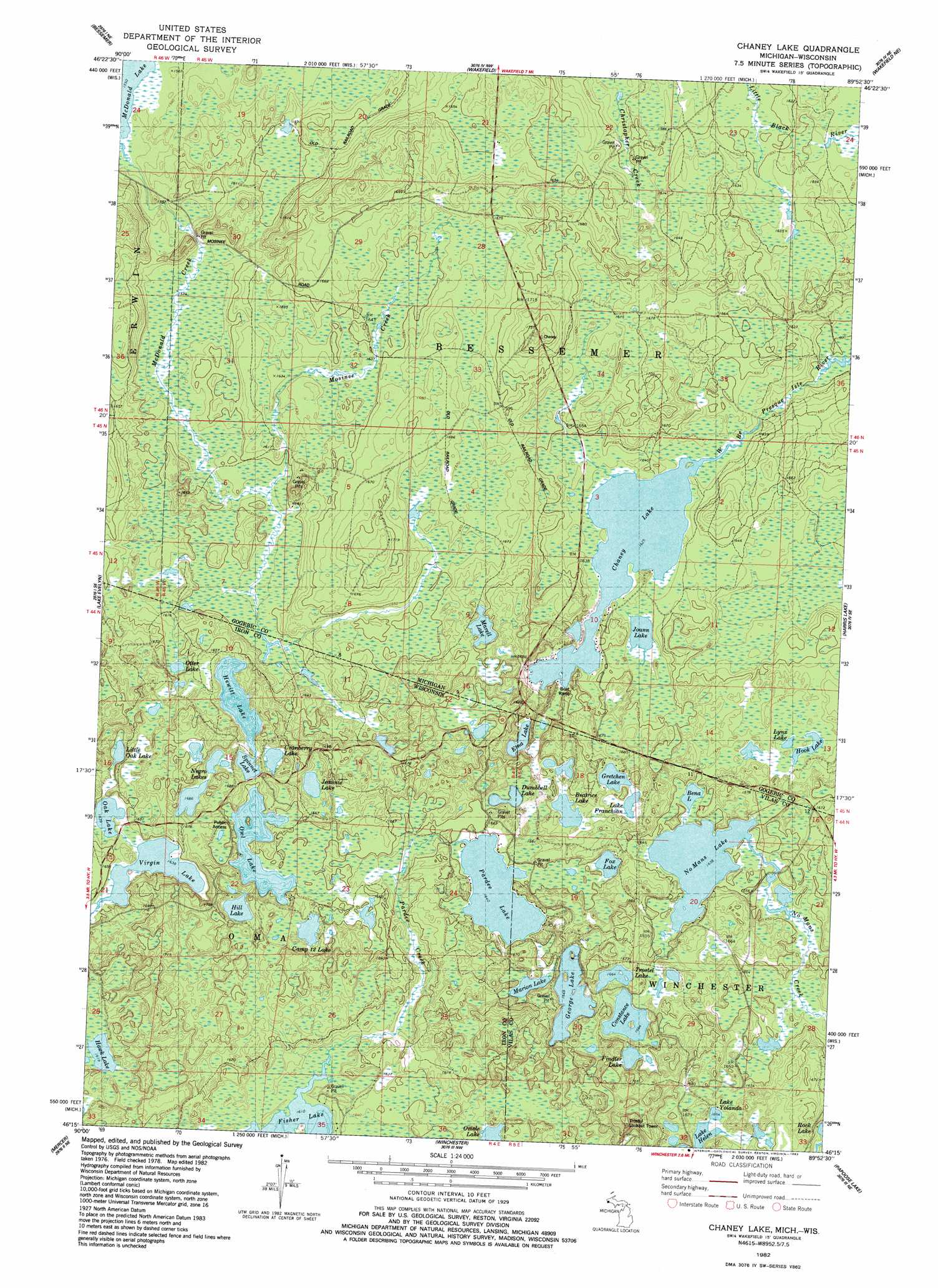 Chaney Lake Topographic Map Mi Wi Usgs Topo Quad 46089c8