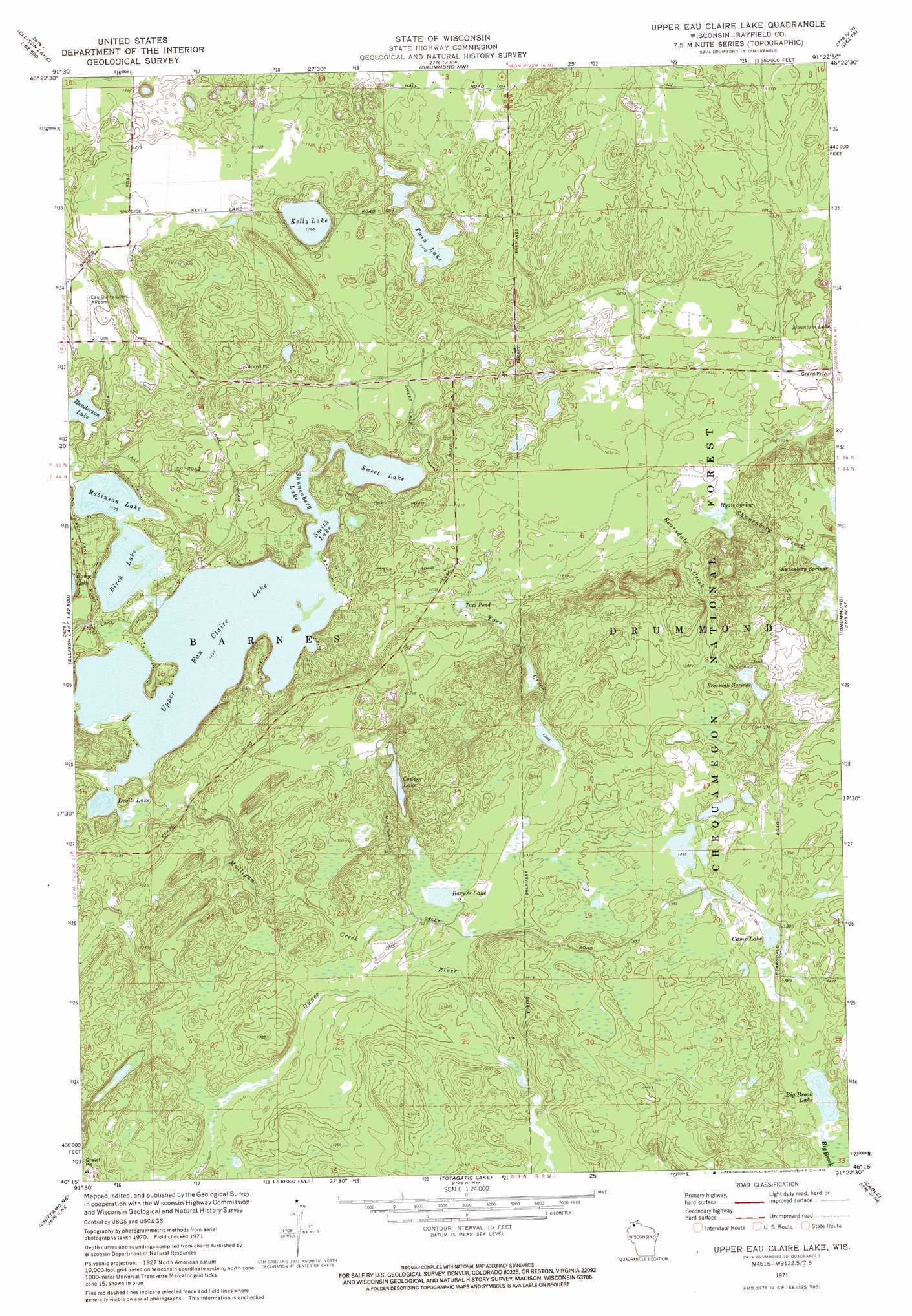 Upper Eau Claire Lake Topographic Map WI USGS Topo Quad C - Wisconsin topographic lake maps