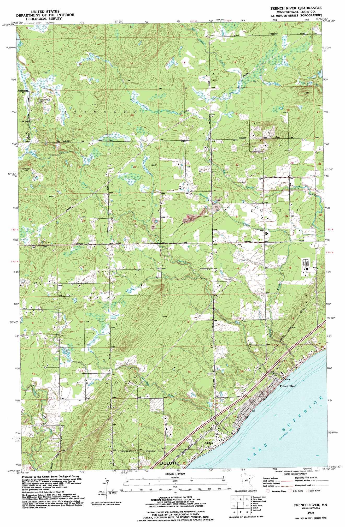 French River Topographic Map MN USGS Topo Quad H - Us quad maps