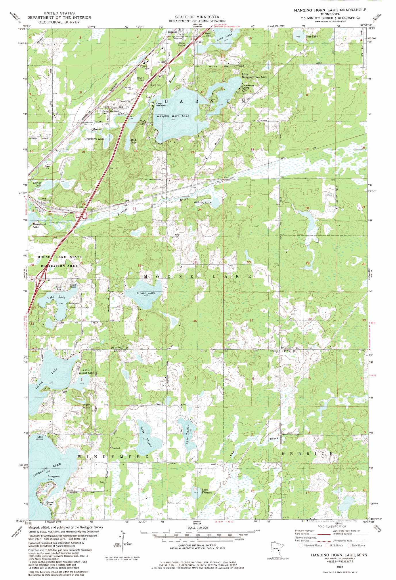 Hanging Horn Lake topographic map MN USGS Topo Quad 46092d6