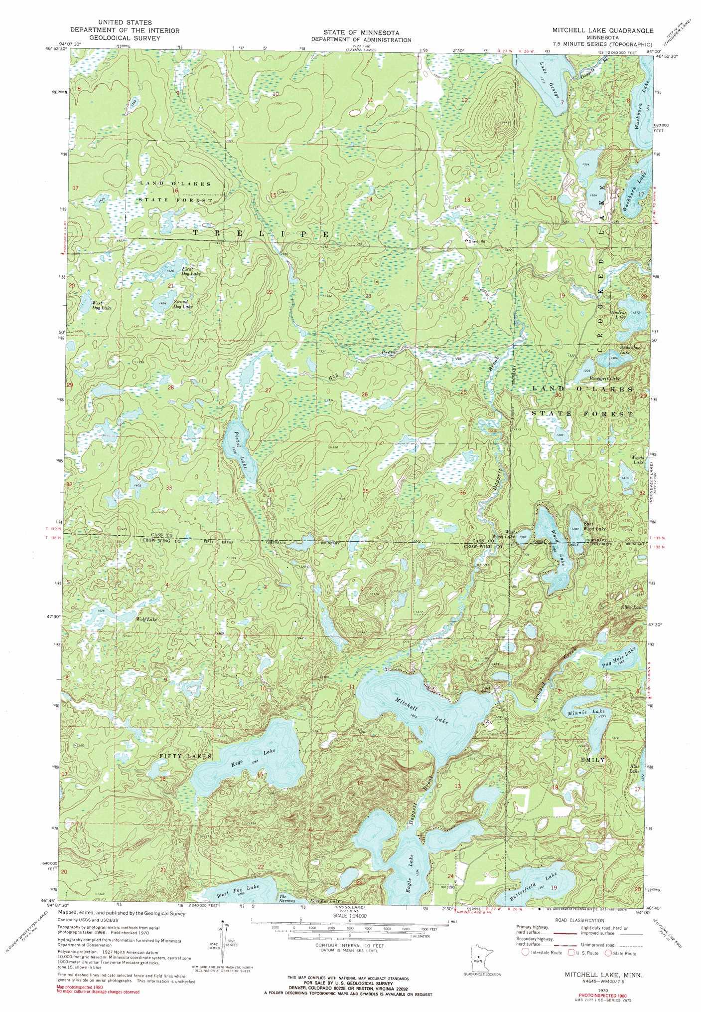 Mitchell Lake Topographic Map MN  USGS Topo Quad 46094g1
