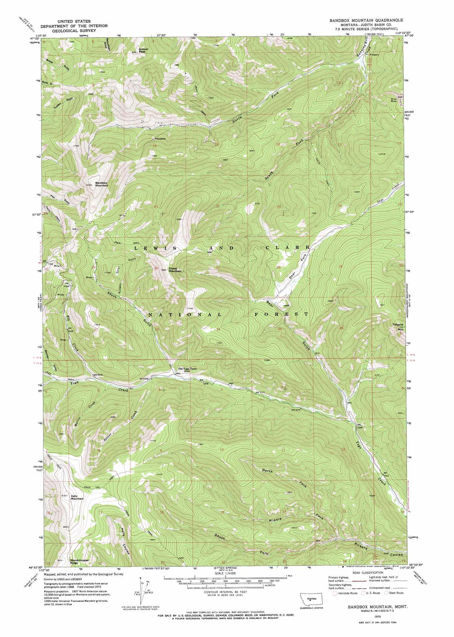 Band Box Mountain topographic map, MT - USGS Topo Quad 46110h4