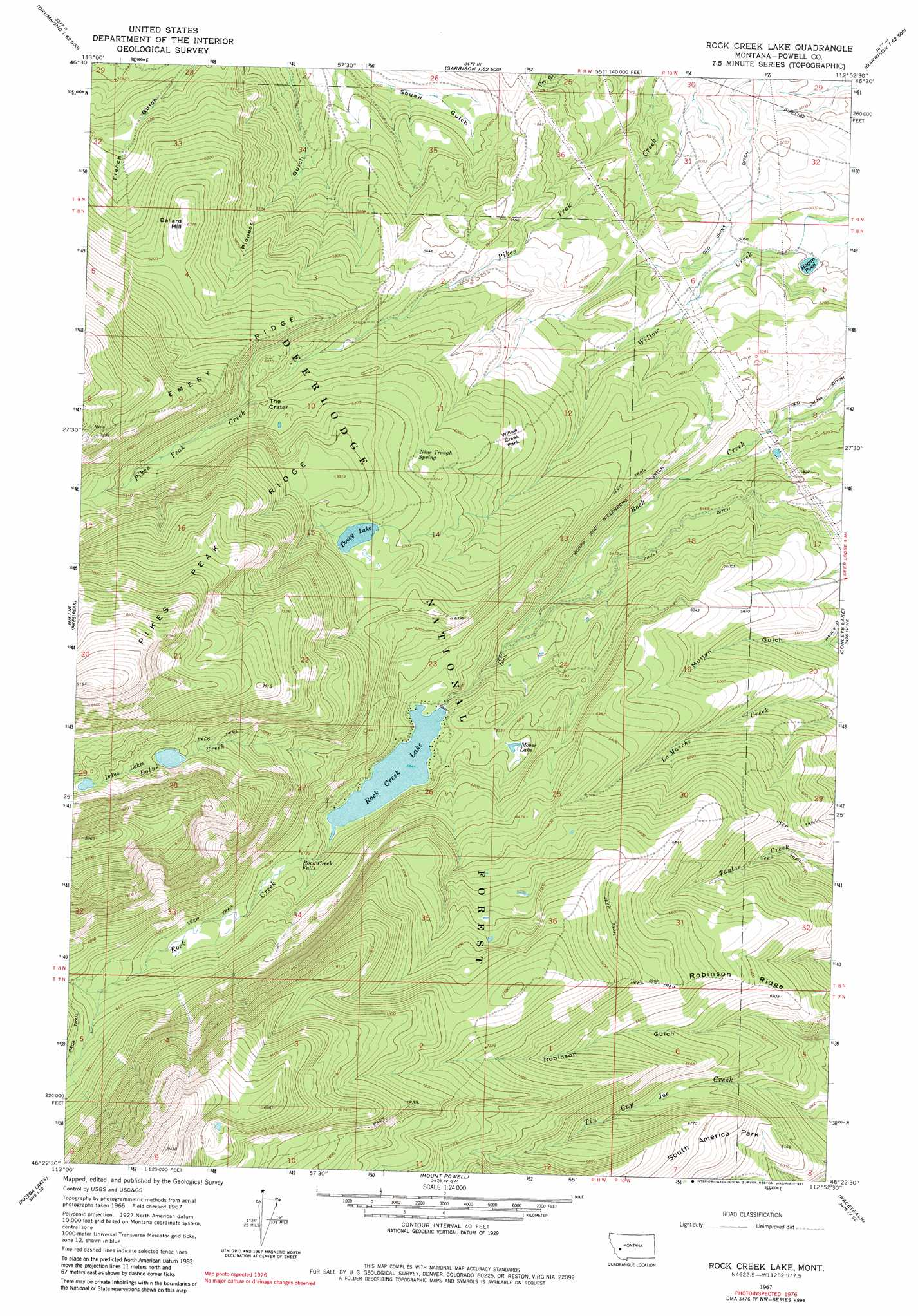 Rock Creek Lake Topographic Map MT  USGS Topo Quad 46112d8