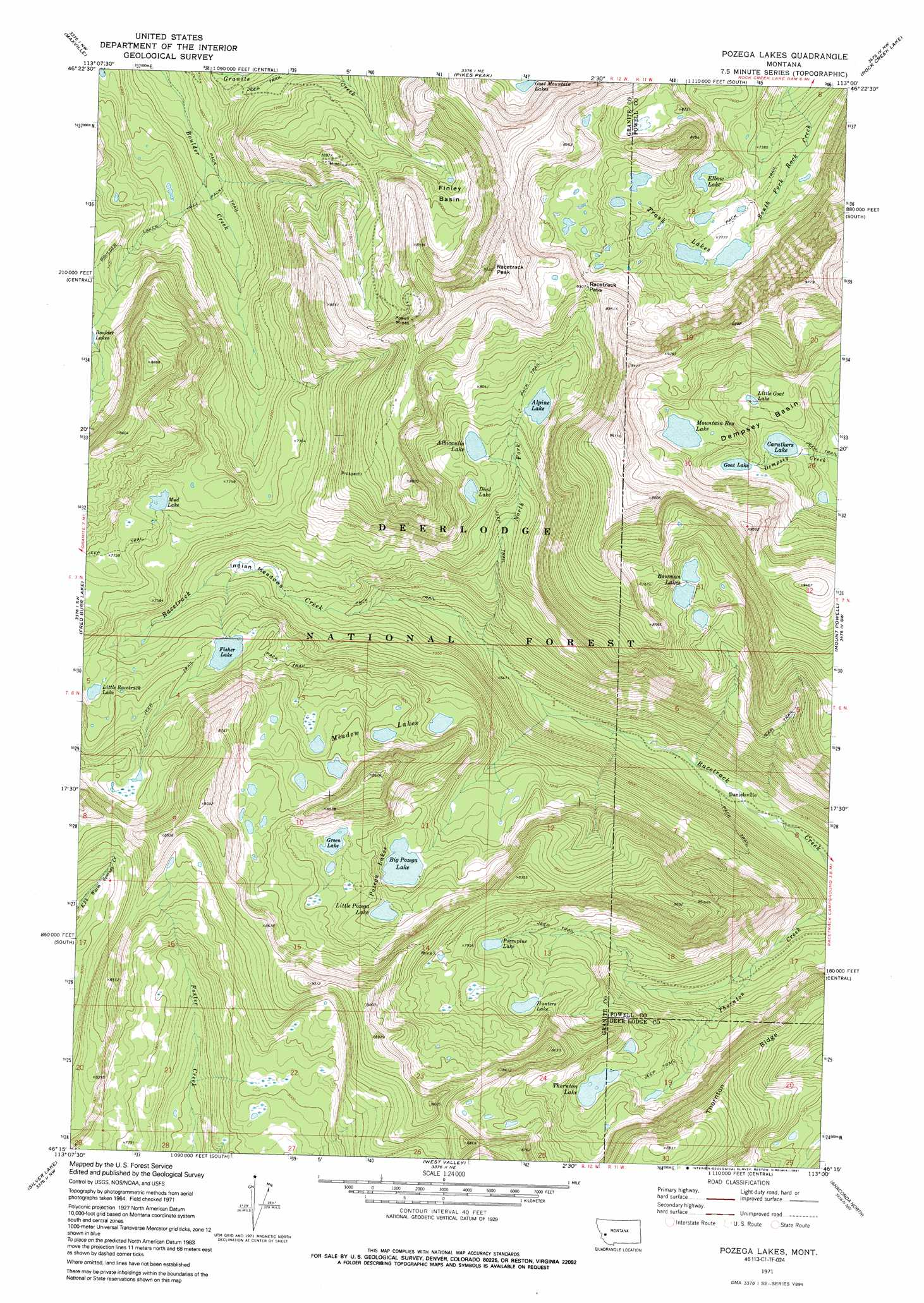 Pozega Lakes topographic map, MT - USGS Topo Quad 46113c1