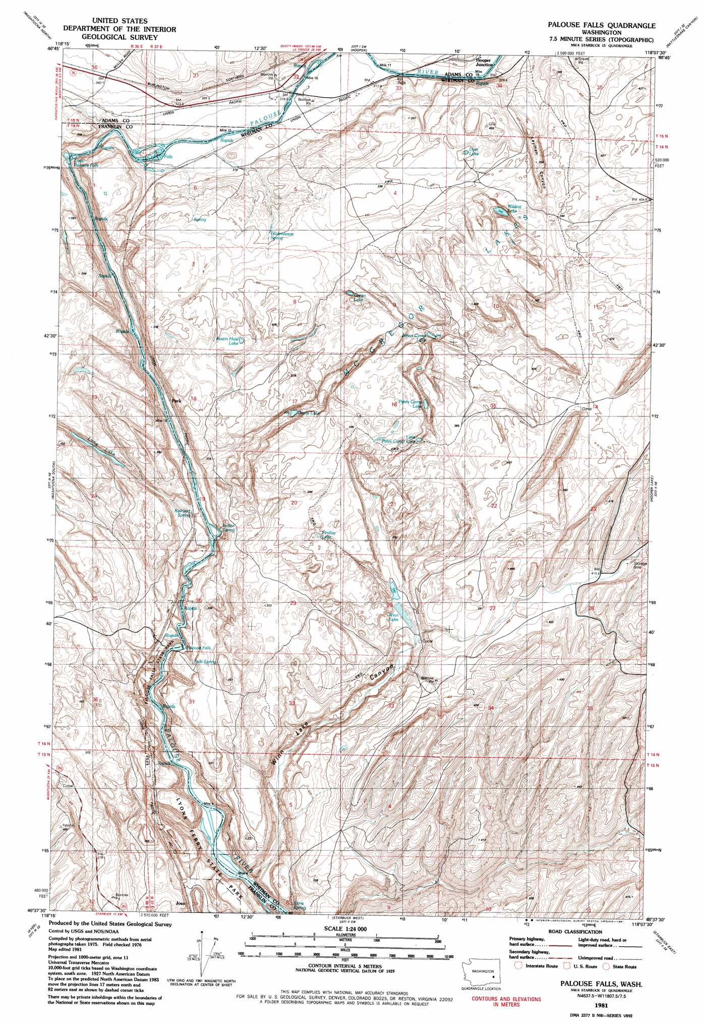 Palouse Falls Washington Map.Palouse Falls Topographic Map Wa Usgs Topo Quad 46118f2