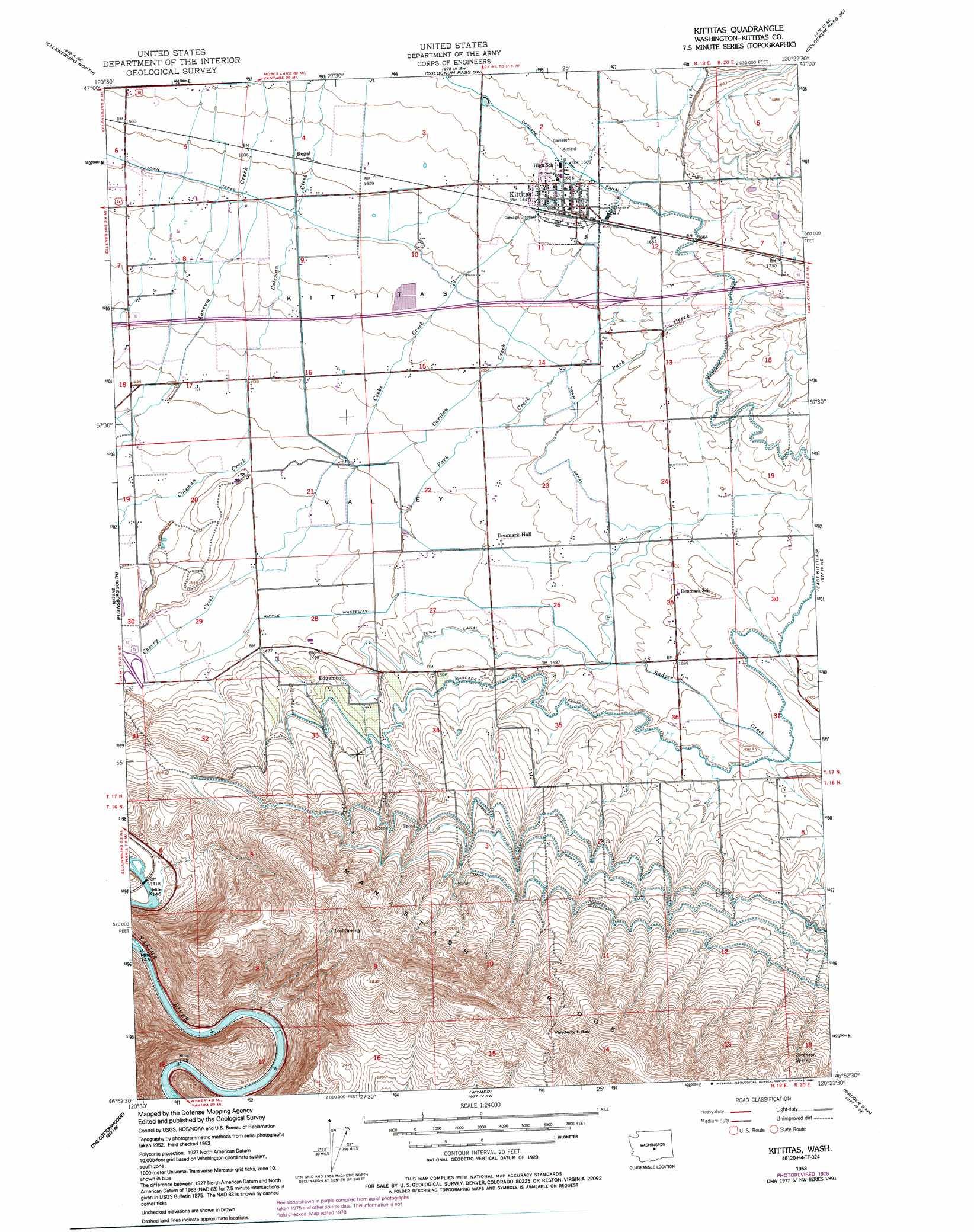 Kittitas topographic map, WA  USGS Topo Quad 46120h4
