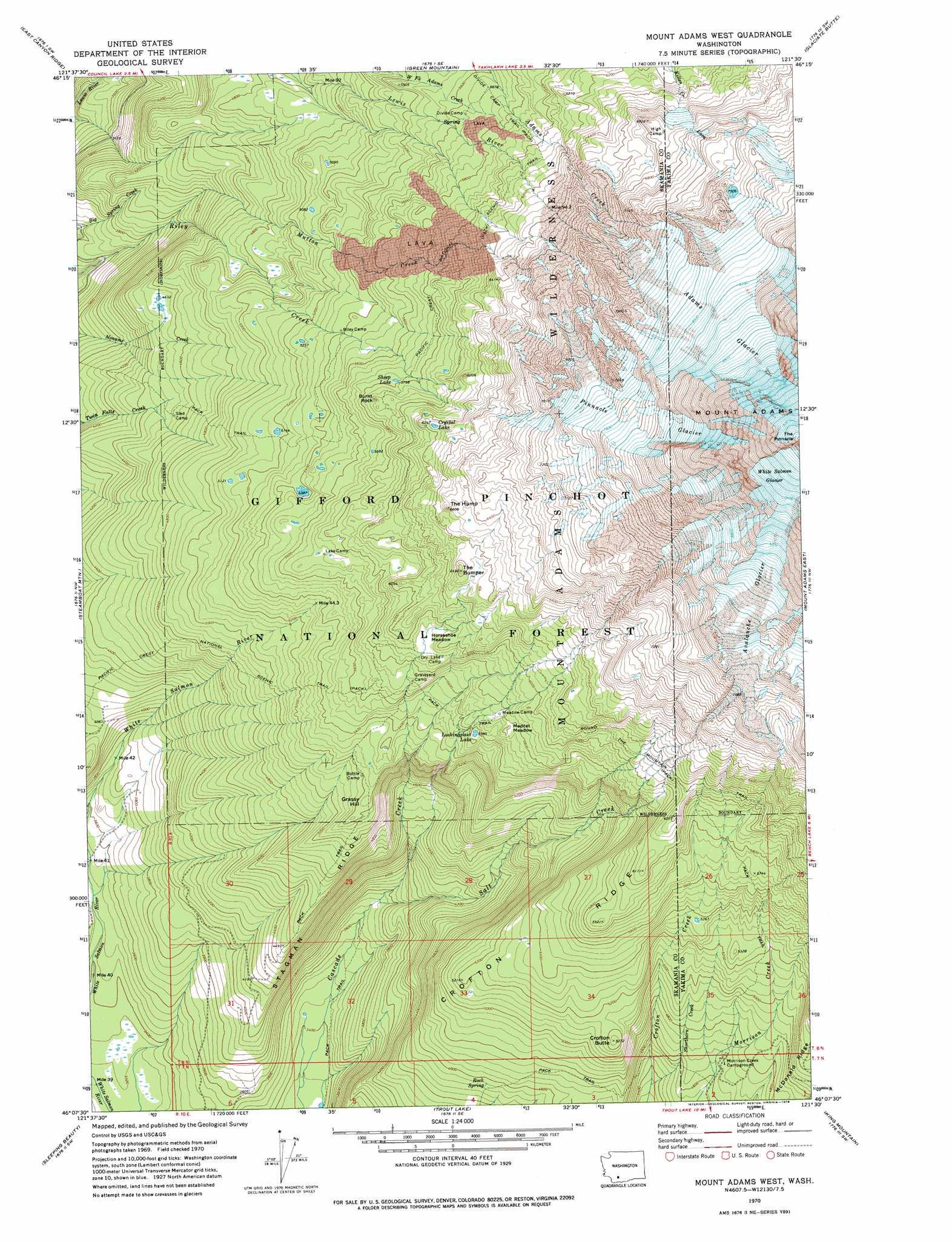 Mt Adams Washington Map.Mount Adams West Topographic Map Wa Usgs Topo Quad 46121b5