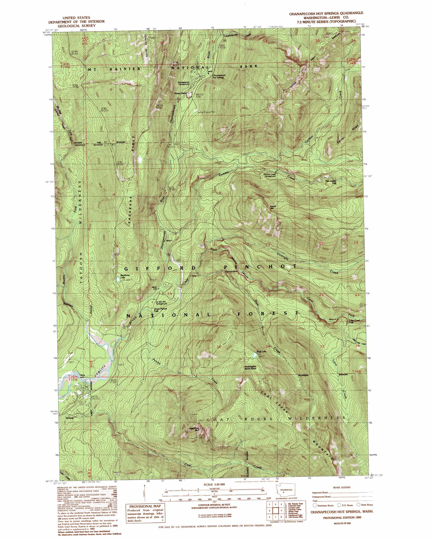 Ohanapecosh Hot Springs Topographic Map WA  USGS Topo