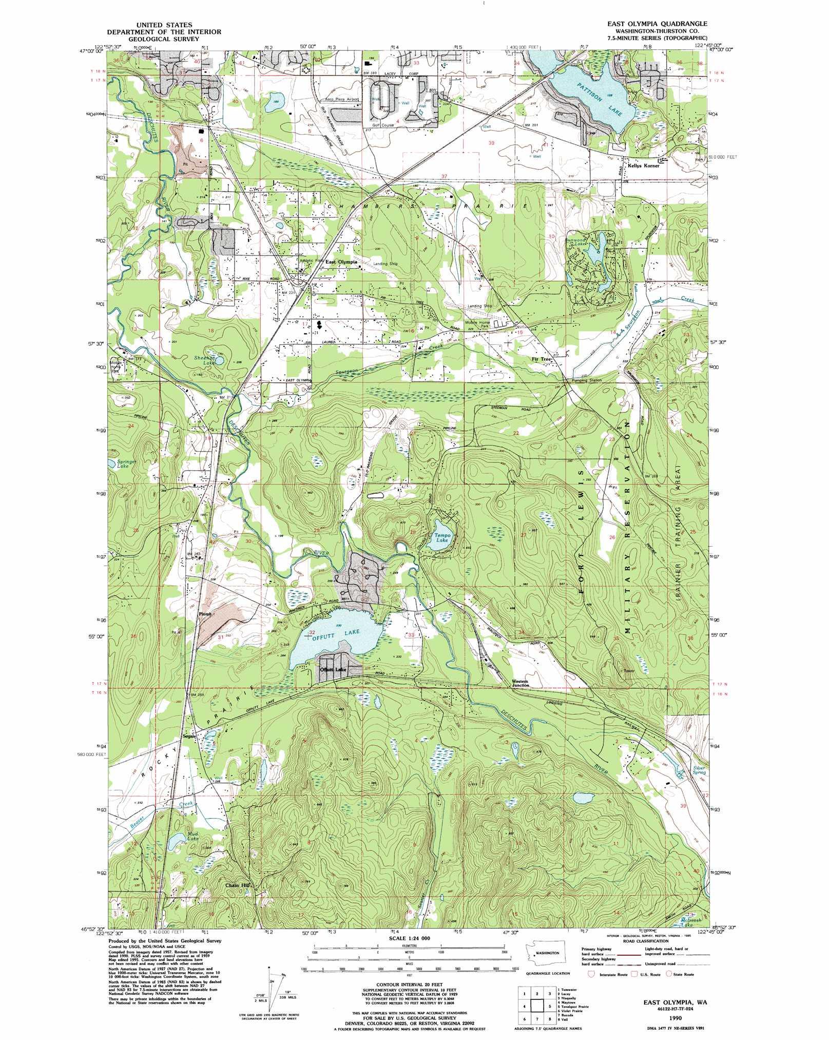 East Olympia topographic map WA USGS Topo Quad 46122h7