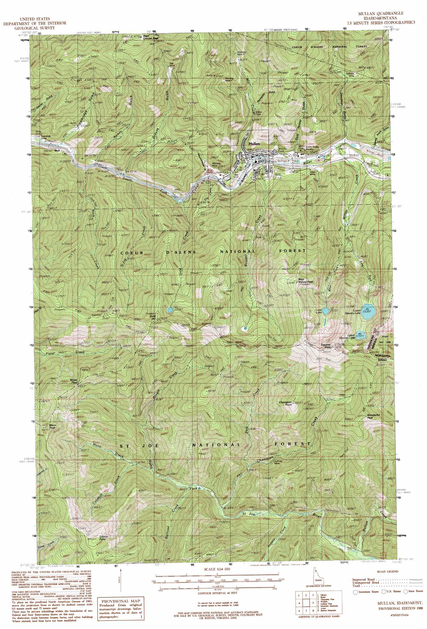Mullan topographic map, ID, MT - USGS Topo Quad 47115d7